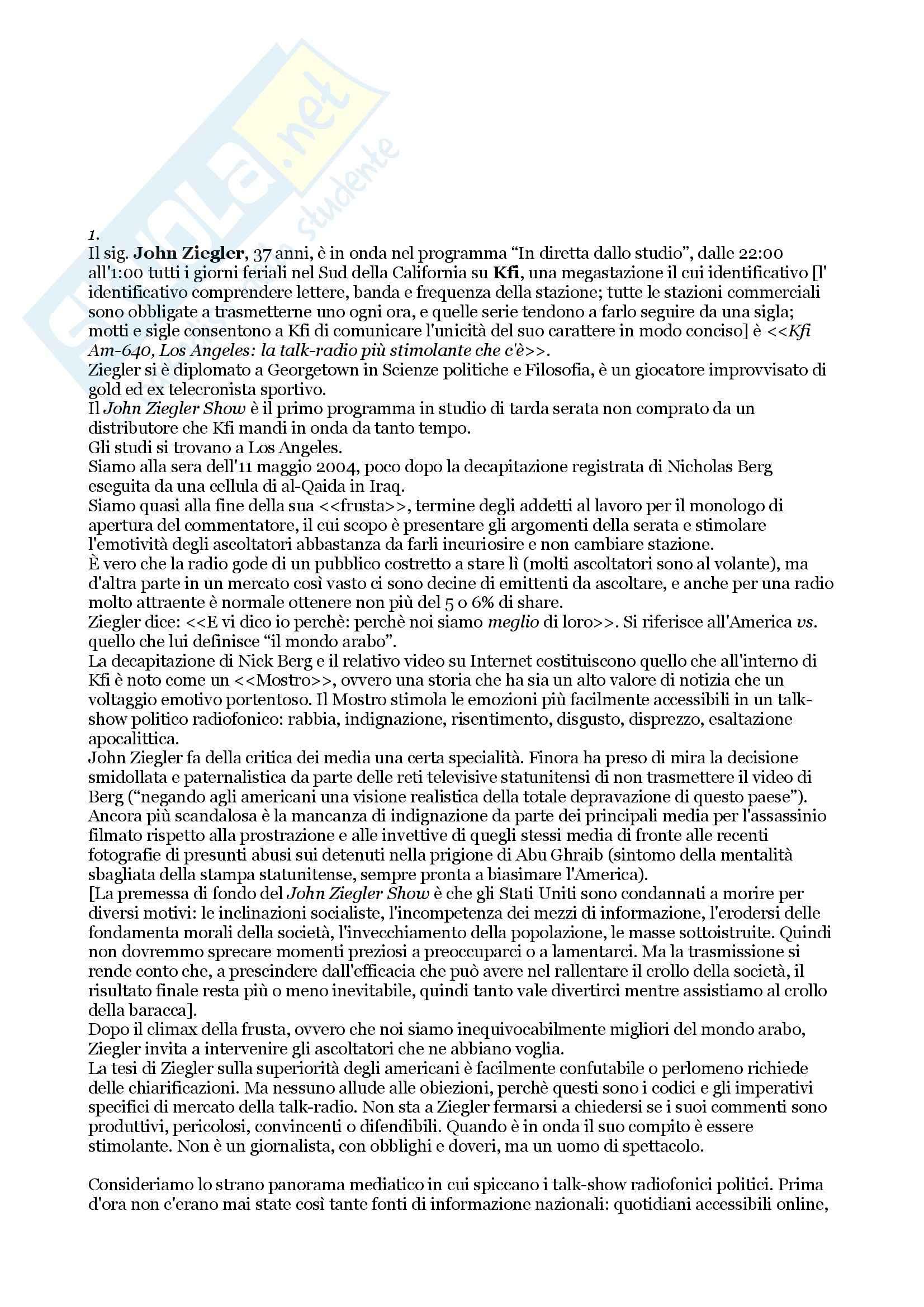 Riassunto esame Comunicazione Radiofonica, il, prof. Bonini, libro consigliato Commentatore, Saggio contenuto in Considera l'aragosta, Wallace