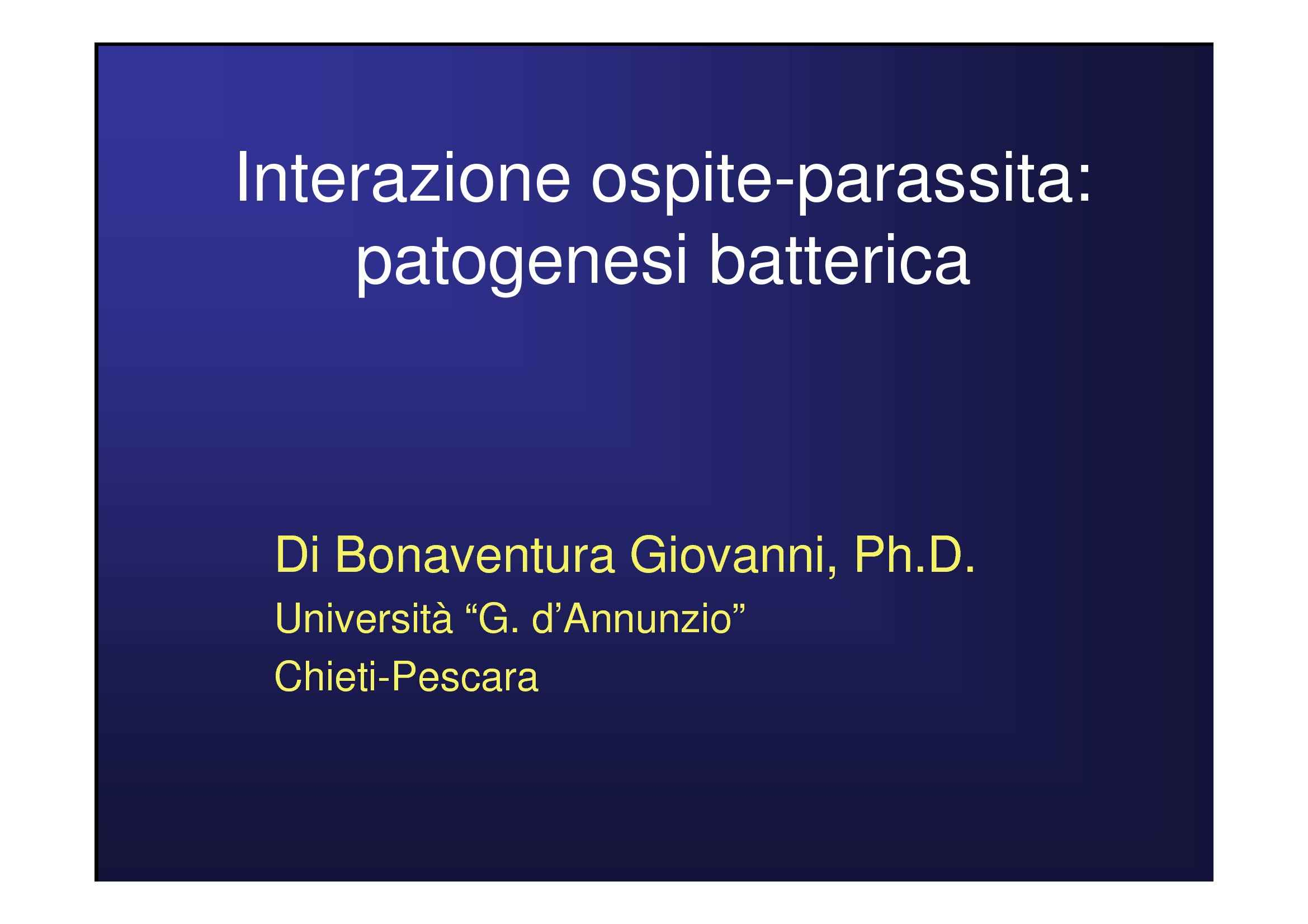 Patogenesi batterica - Parassita e simbionte