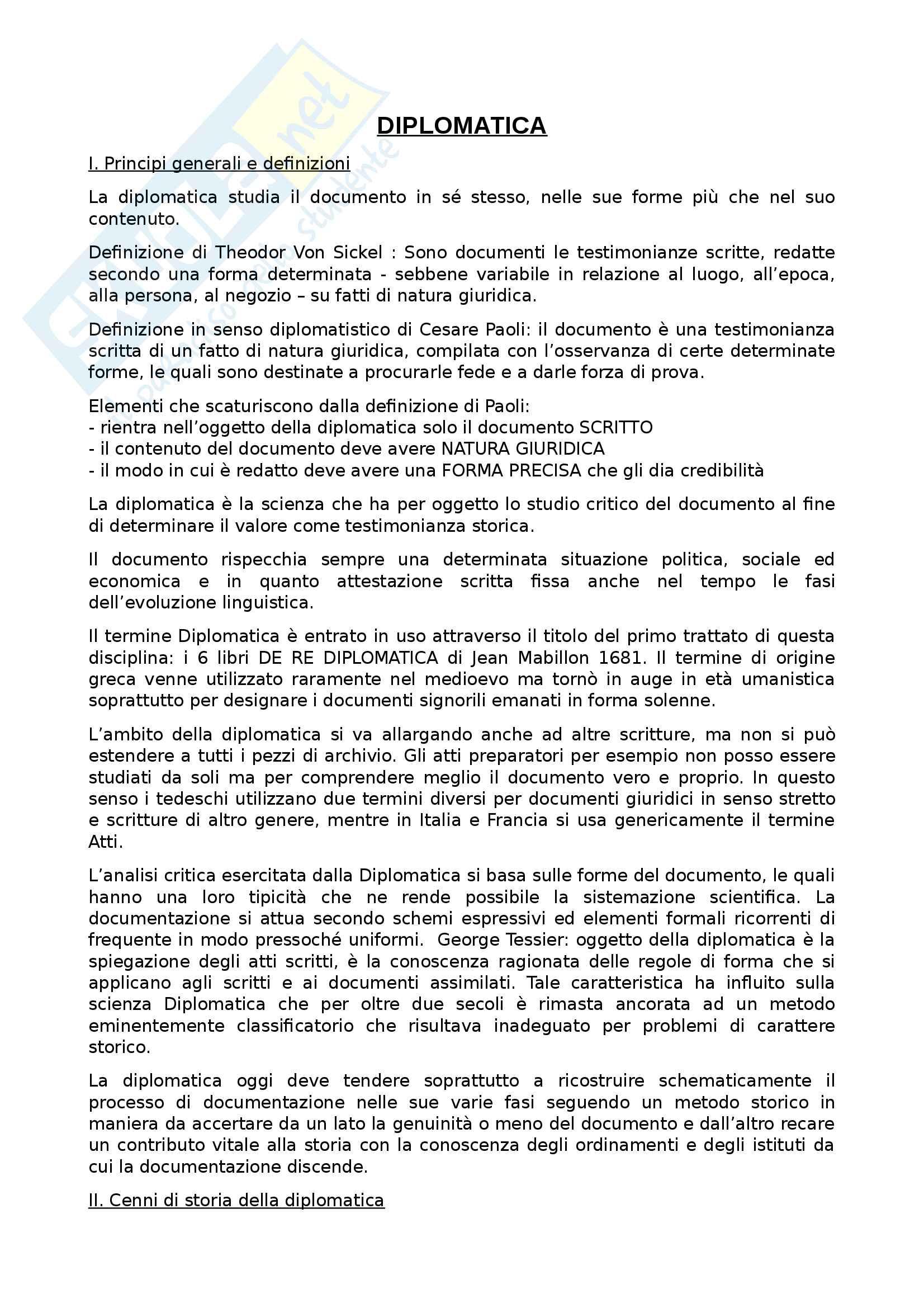 Riassunto esame Diplomatica, prof Pozza, libro consigliato Genesi del documento medievale, Pratesi