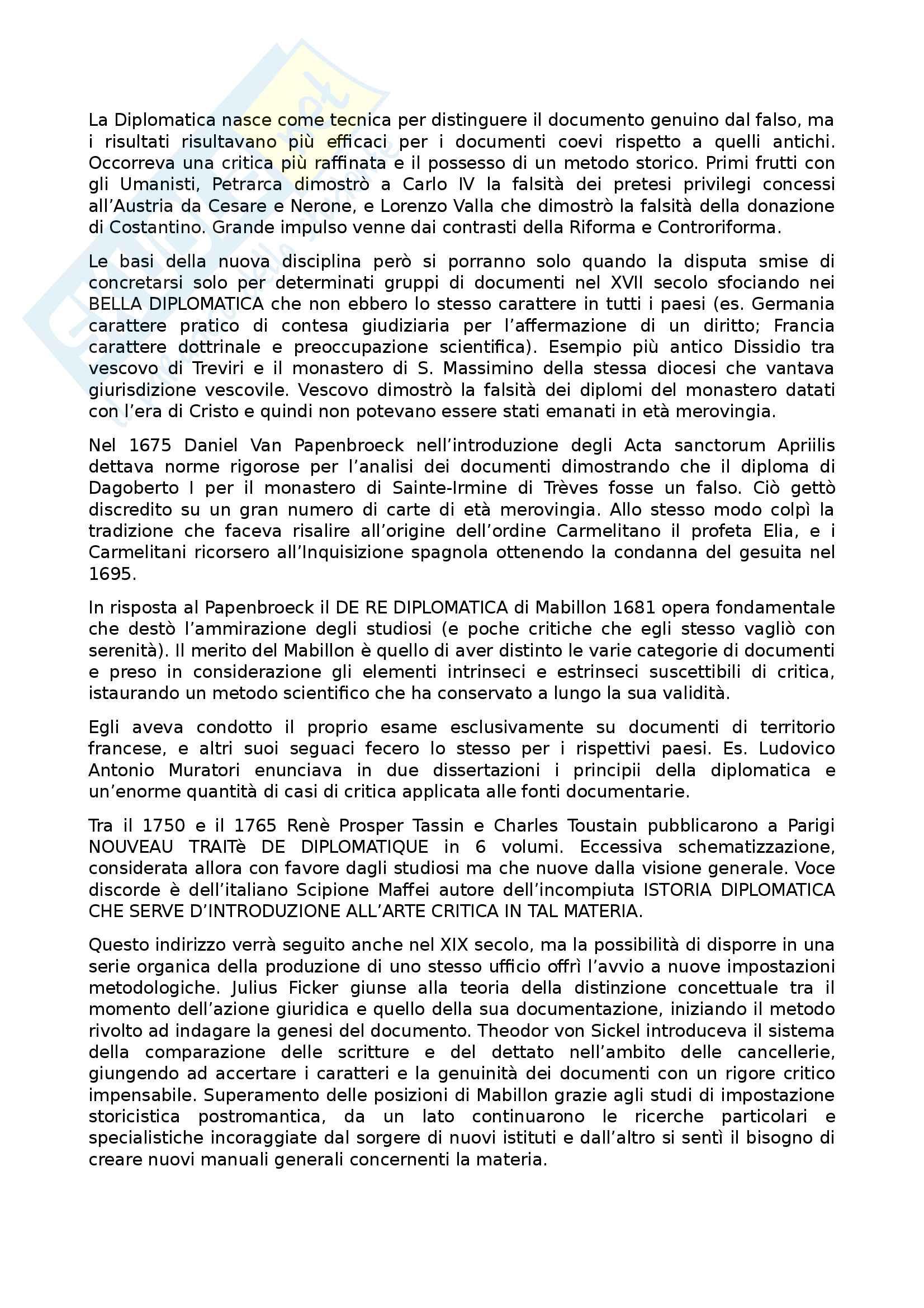 Riassunto esame Diplomatica, prof Pozza, libro consigliato Genesi del documento medievale, Pratesi Pag. 2