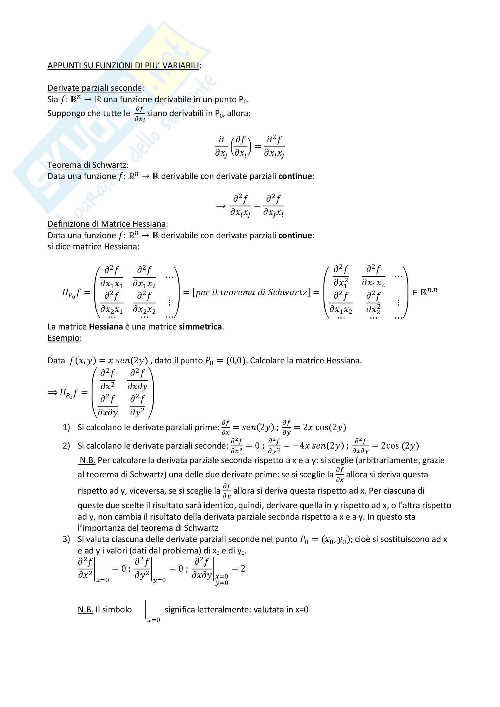 Geometria - funzioni di più variabili