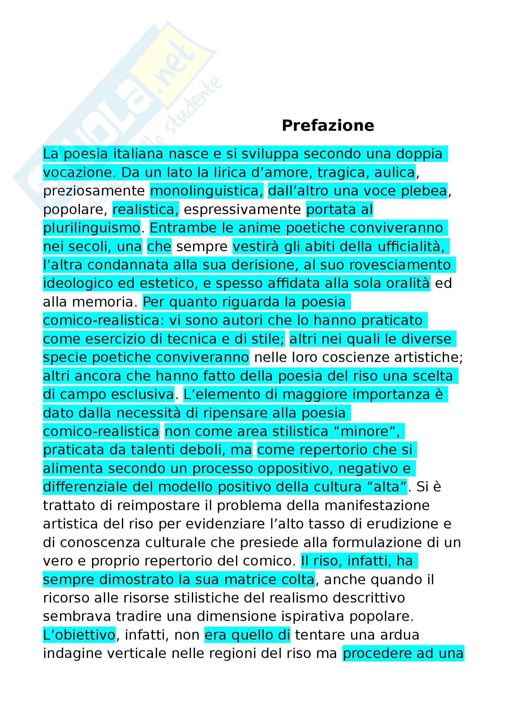 Riassunto esame Letteratura Italiana, prof. Villoresi, libro consigliato La poesia comico realistica, Orvieto, Brestolini