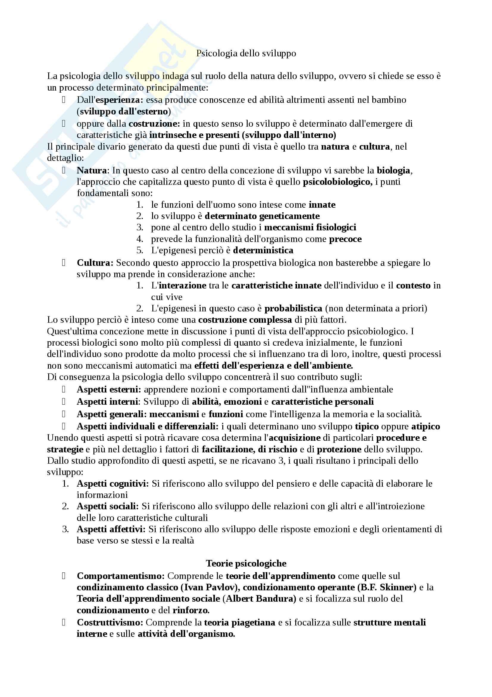 Riassunto esame Psicologia dello sviluppo, docente Adriano Pagnin