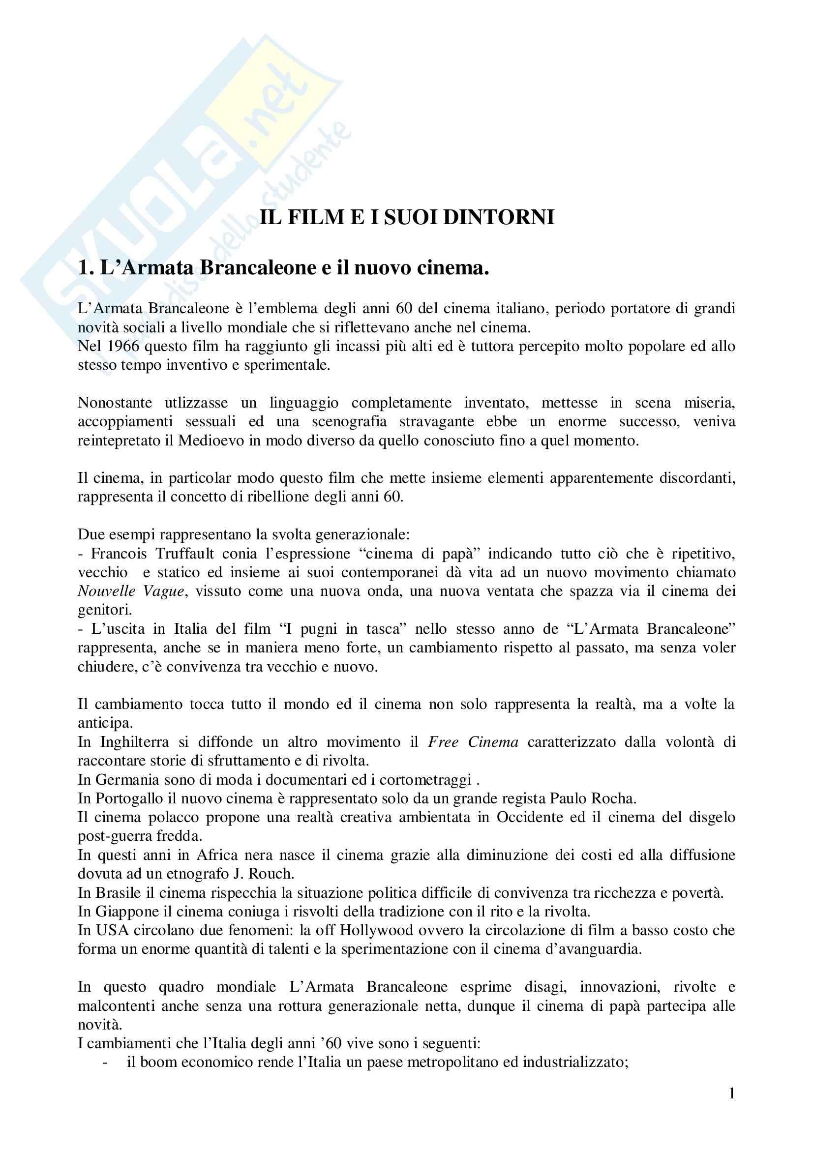 Riassunto esame Storia del Cinema Italiano, prof. indefinito, libro consigliato L'Armata Brancaleone, Della Casa