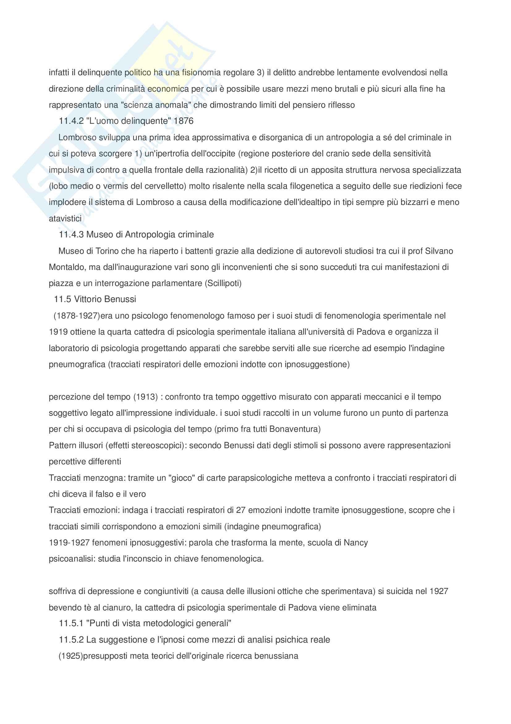 Riassunto esame Storia delle scienze psicologiche, prof. Foschi, libro consigliato Storia della psicologia, Legrenzi Pag. 31