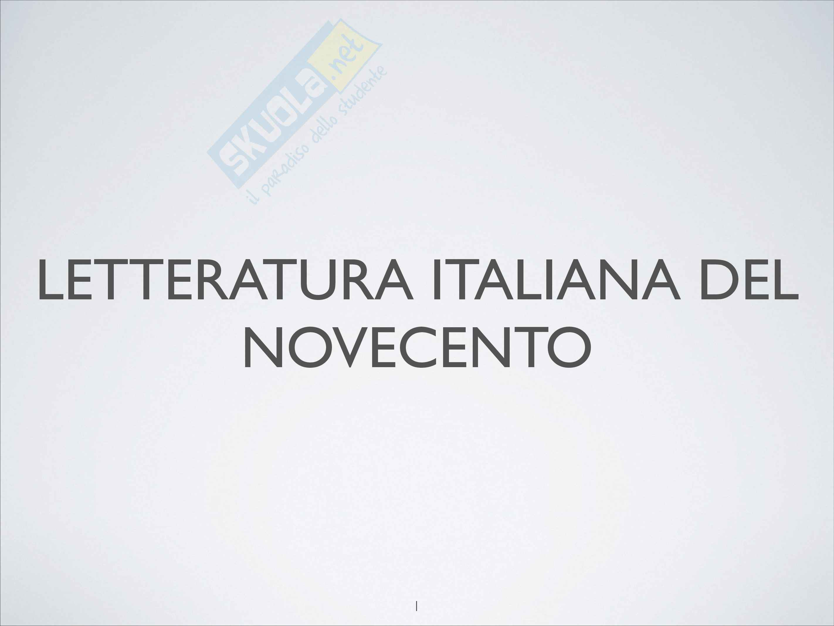 Riassunto esame Letteratura italiana contemporanea, prof. Tomasello