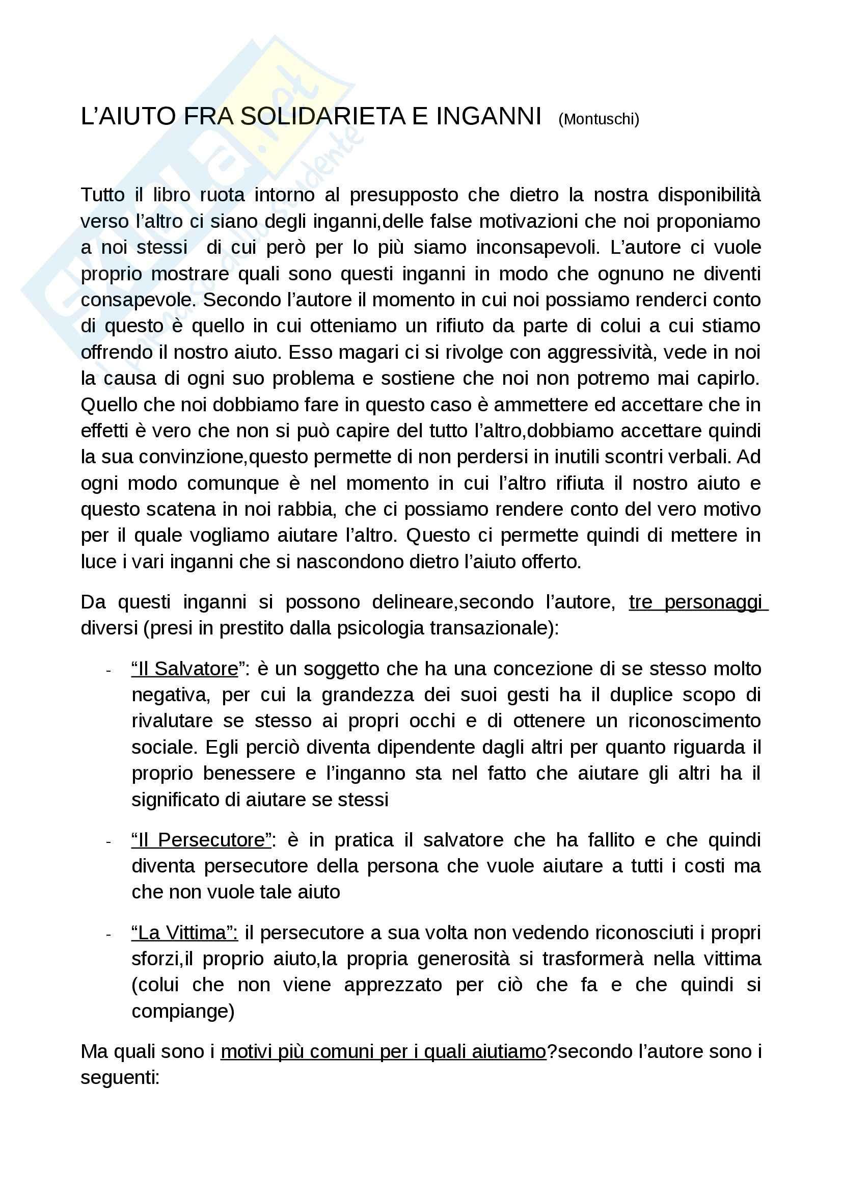 Riassunto esame Pedagogia speciale, prof. Grasselli, libro consigliato L'aiuto fra solidarietà ed inganni, Montuschi