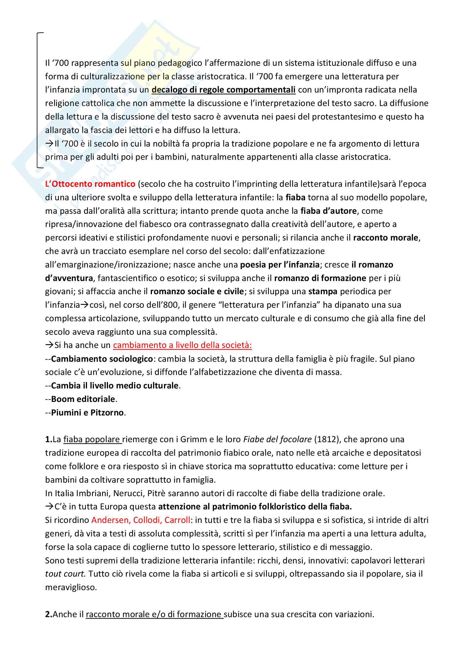 """Riassunto esame """"Letteratura per l'infanzia"""",Bacchetti, libro consigliato: """"La letteratura per l'infanzia oggi"""", di Bacchetti Flavia,Cambi Franco, Nobile Angelo,Trequadrini Franco Pag. 2"""
