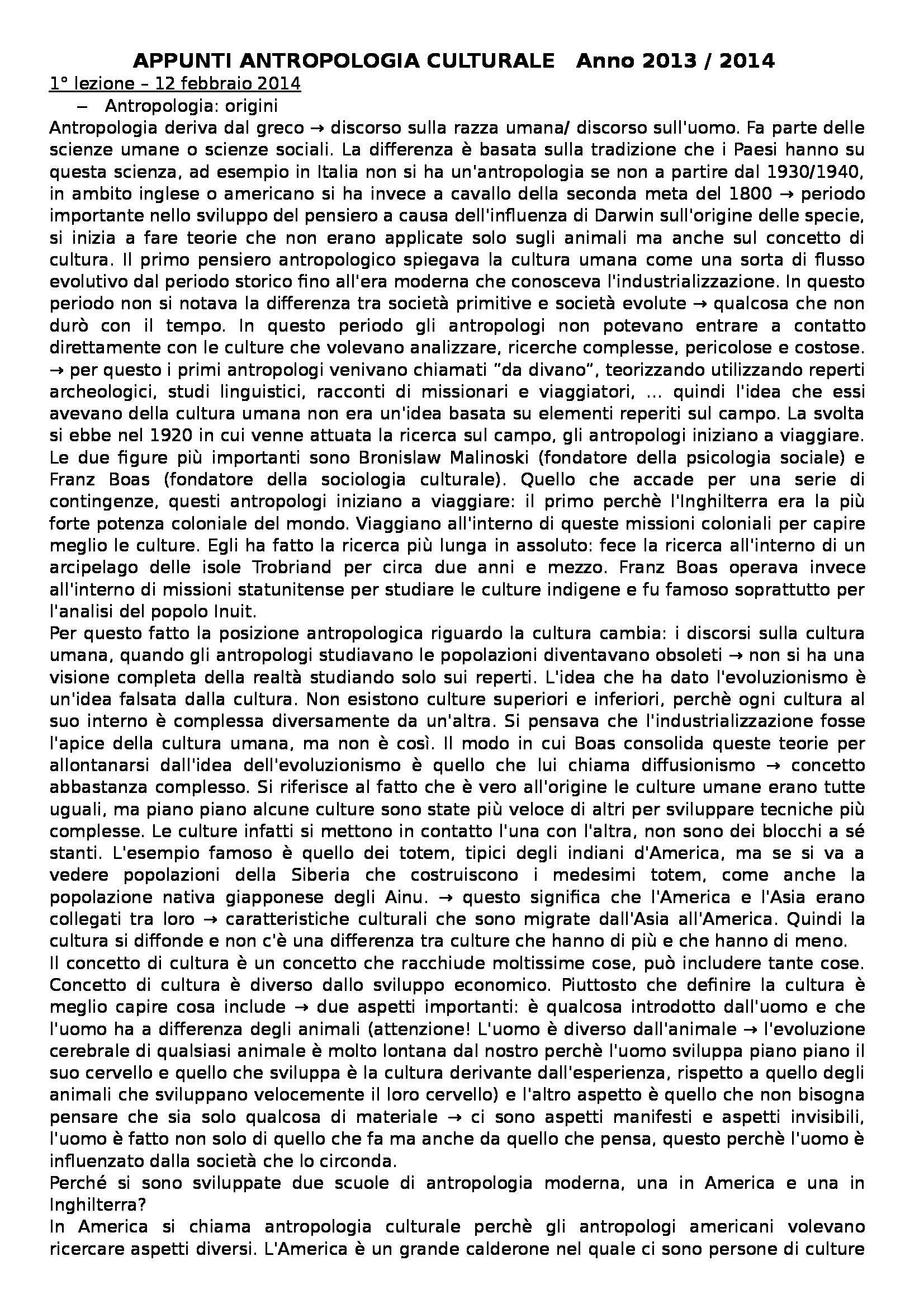 Antropologia culturale - Appunti