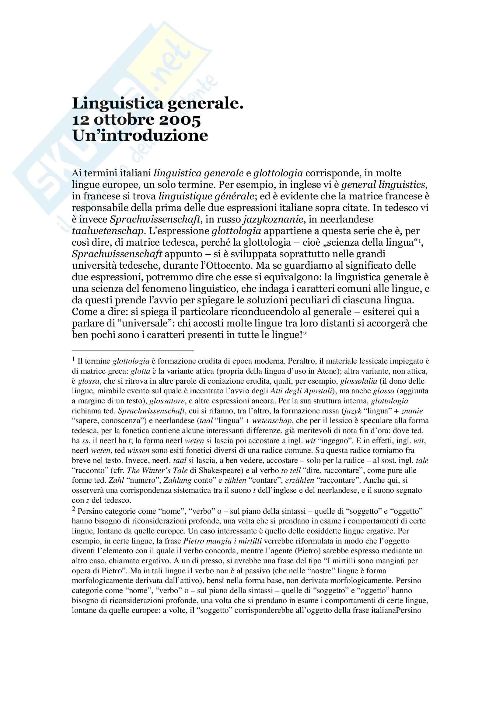 Linguistica generale - introduzione