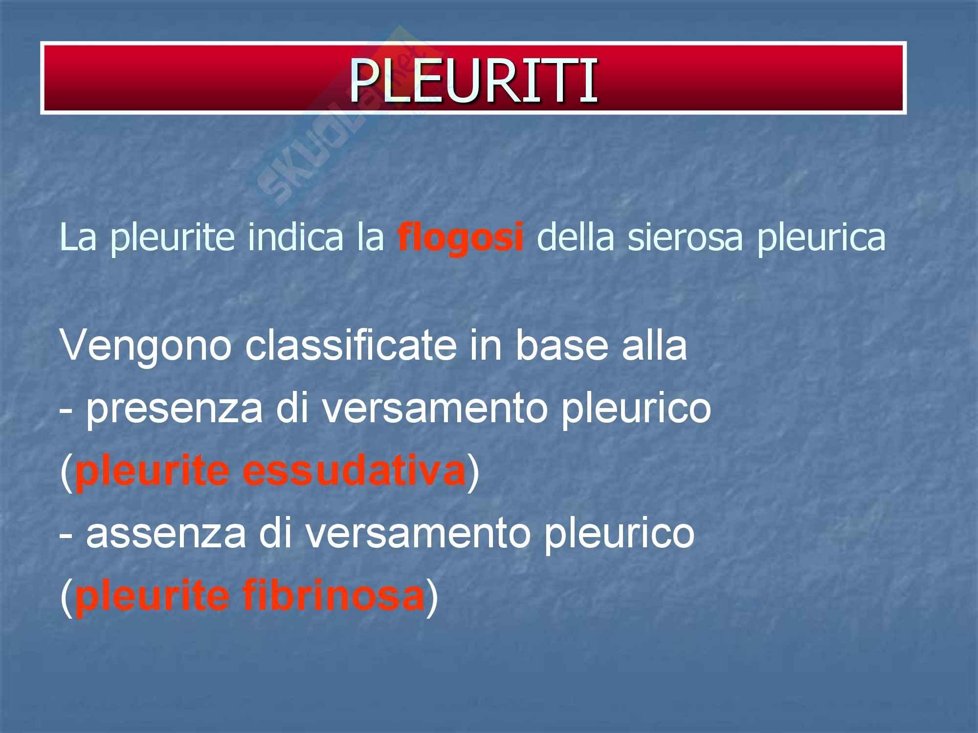 Malattie dell'apparato respiratorio - Pleurite