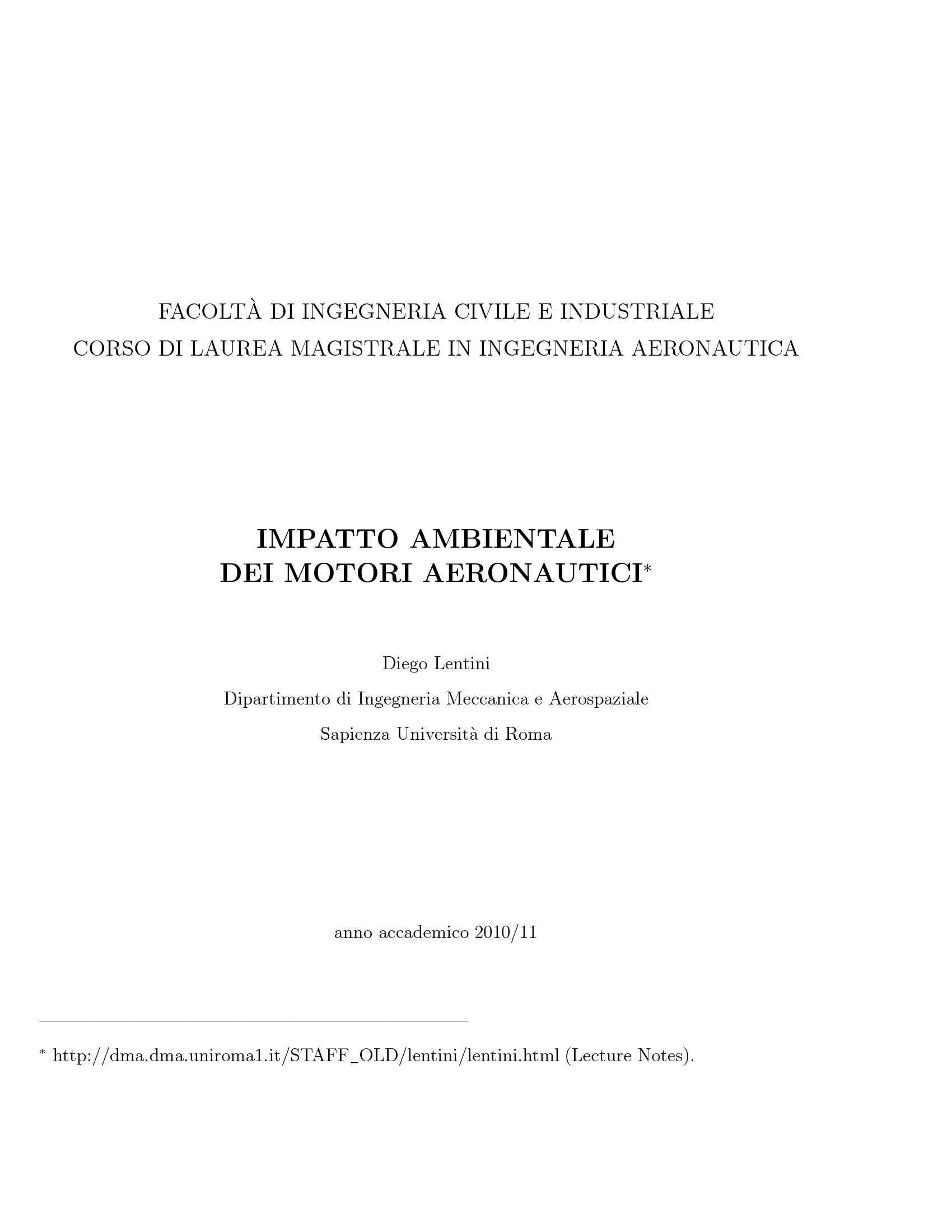 dispensa D. Lentini Impatto Ambientale dei Motori Aeronautici