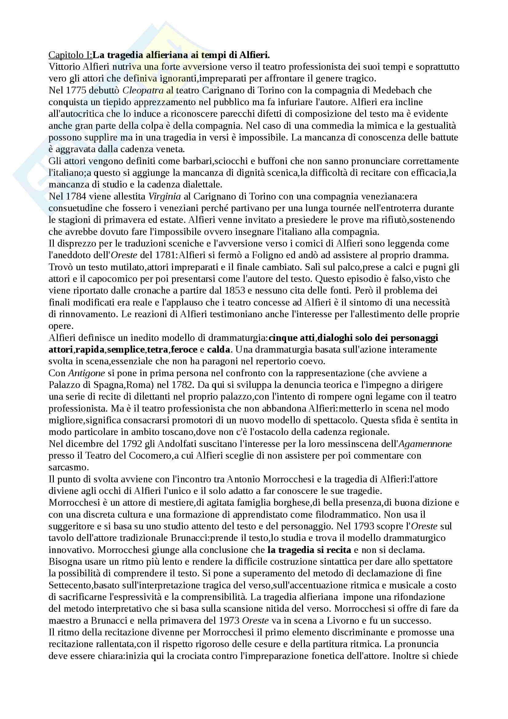 Riassunto esame Storia del teatro, prof. Cambiaghi, libro consigliato Rapida...semplice...tetra e feroce