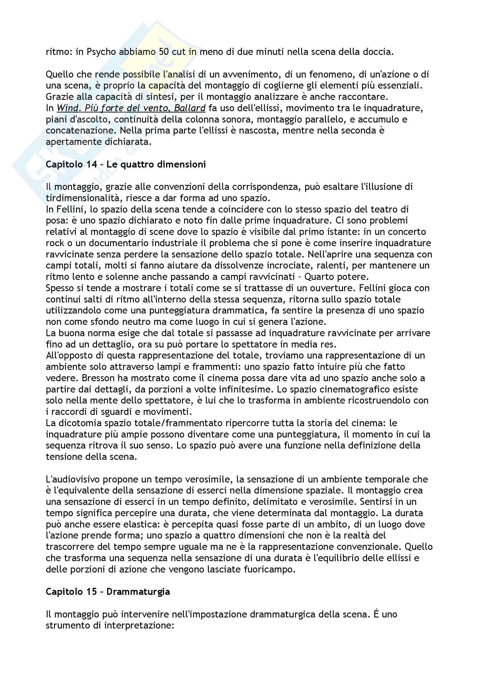 Riassunto esame Laboratorio di Montaggio Digitale, prof. Cassani, libro consigliato Manuale di Montaggio, Cassani Pag. 16