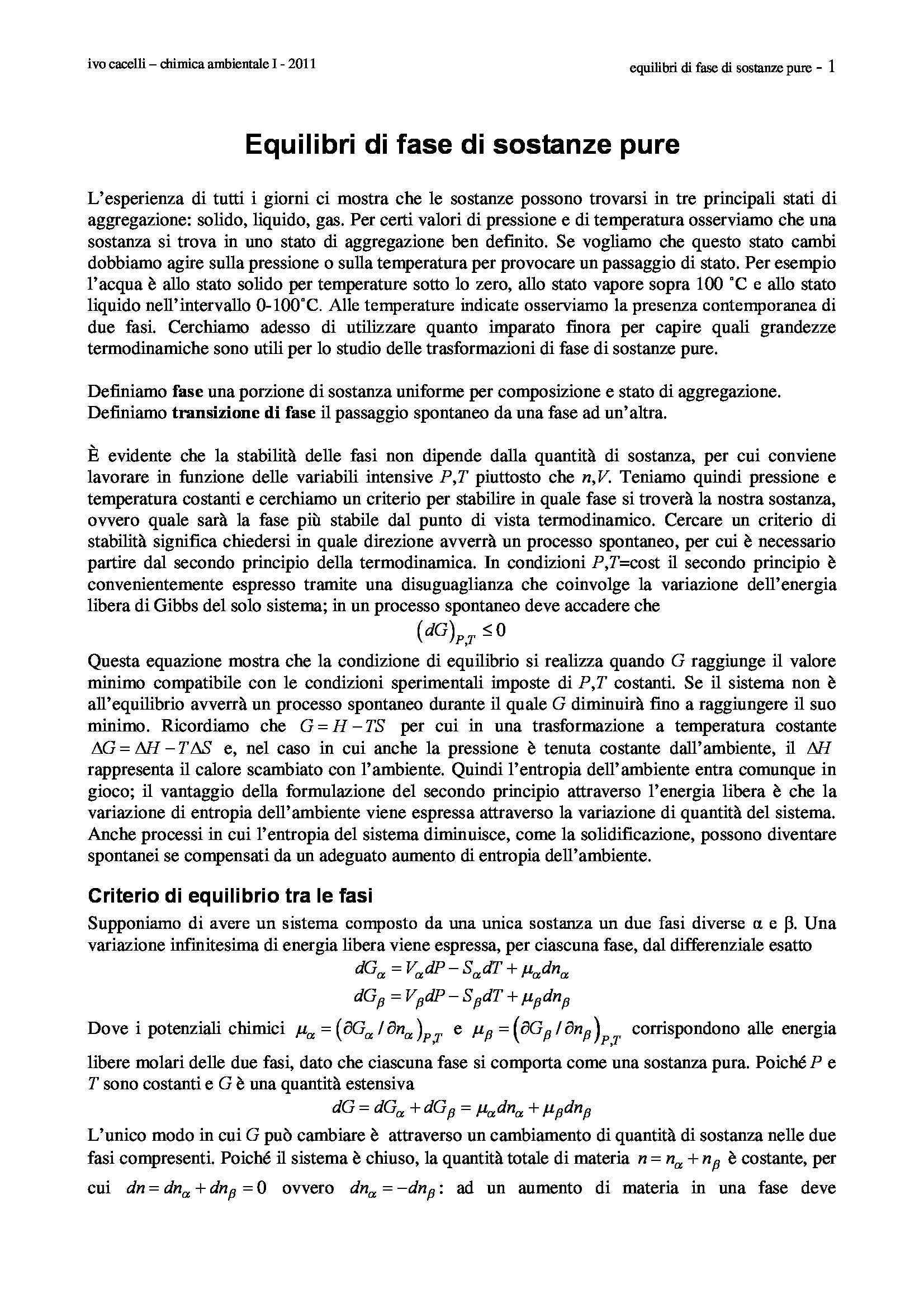 dispensa I. Cacelli Chimica ambientale I
