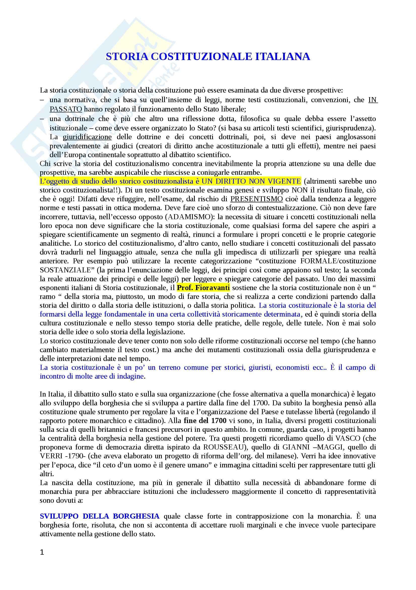 Lezioni, Storia costituzionale italiana