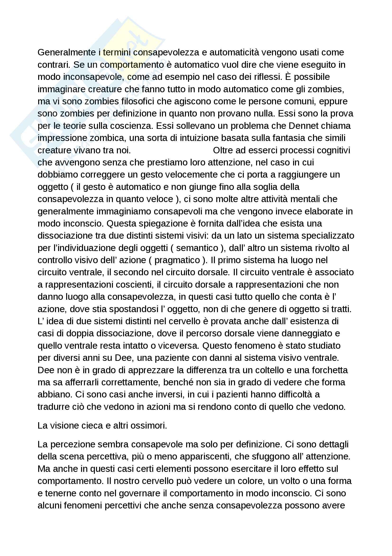 Riassunto esame Processi cognitivi della comunicazione, docente Perconti, libro consigliato L'autocoscienza di Perconti Pag. 2