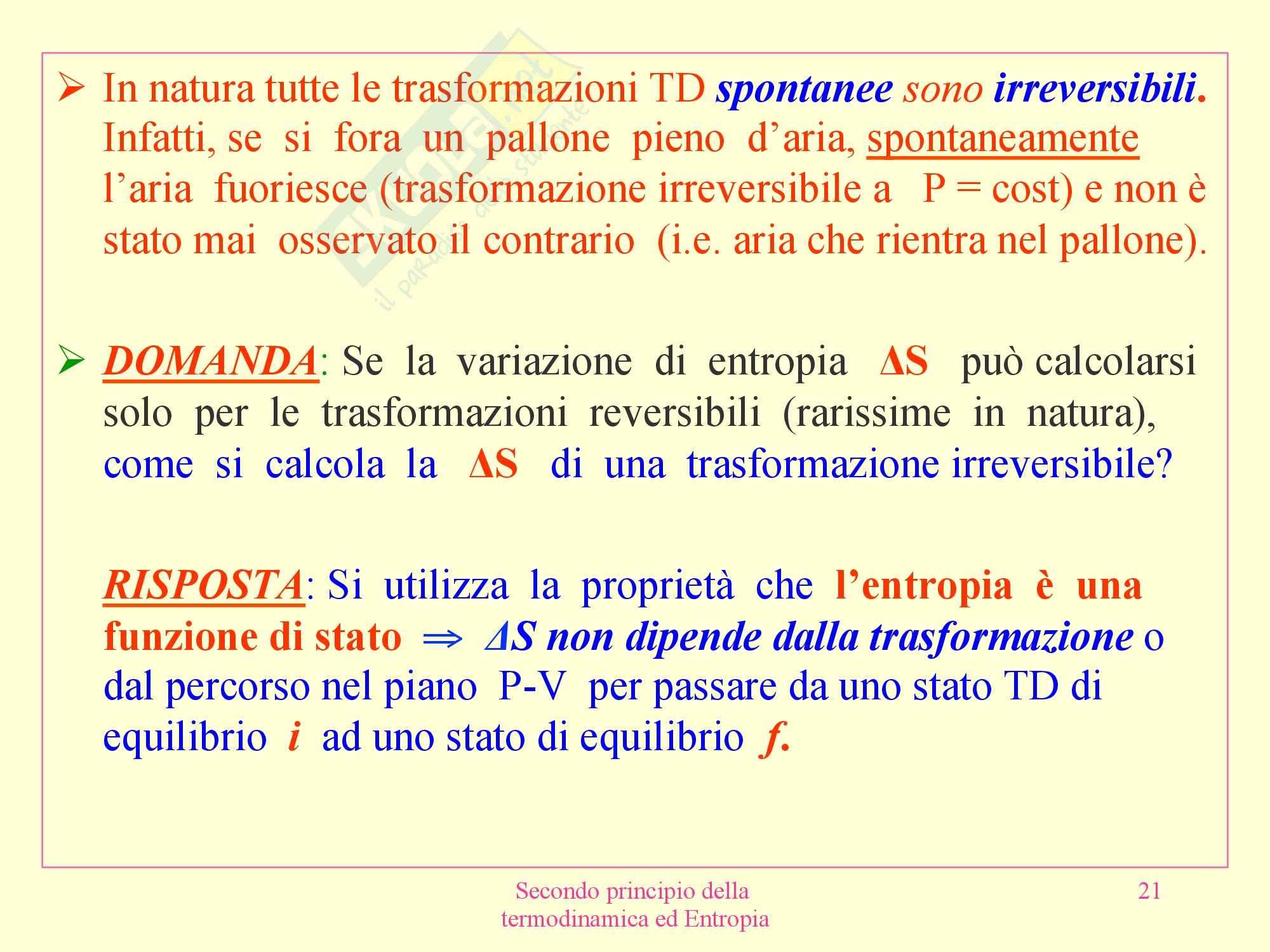 Fisica medica - secondo principio termodinamica Pag. 21