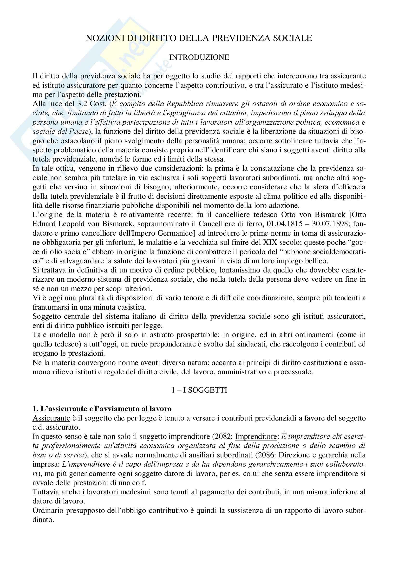 Riassunto esame Diritto della Previdenza Sociale, prof. Ferrante, libro consigliato Diritto della Previdenza Sociale, Tranquillo