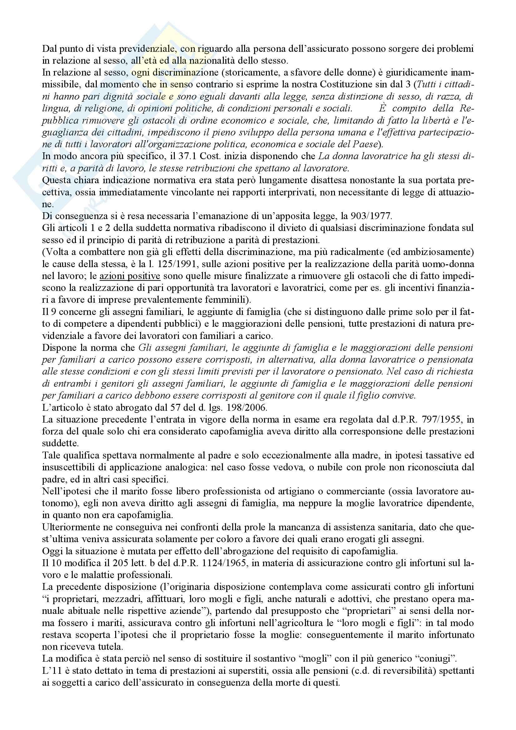 Riassunto esame Diritto della Previdenza Sociale, prof. Ferrante, libro consigliato Diritto della Previdenza Sociale, Tranquillo Pag. 11