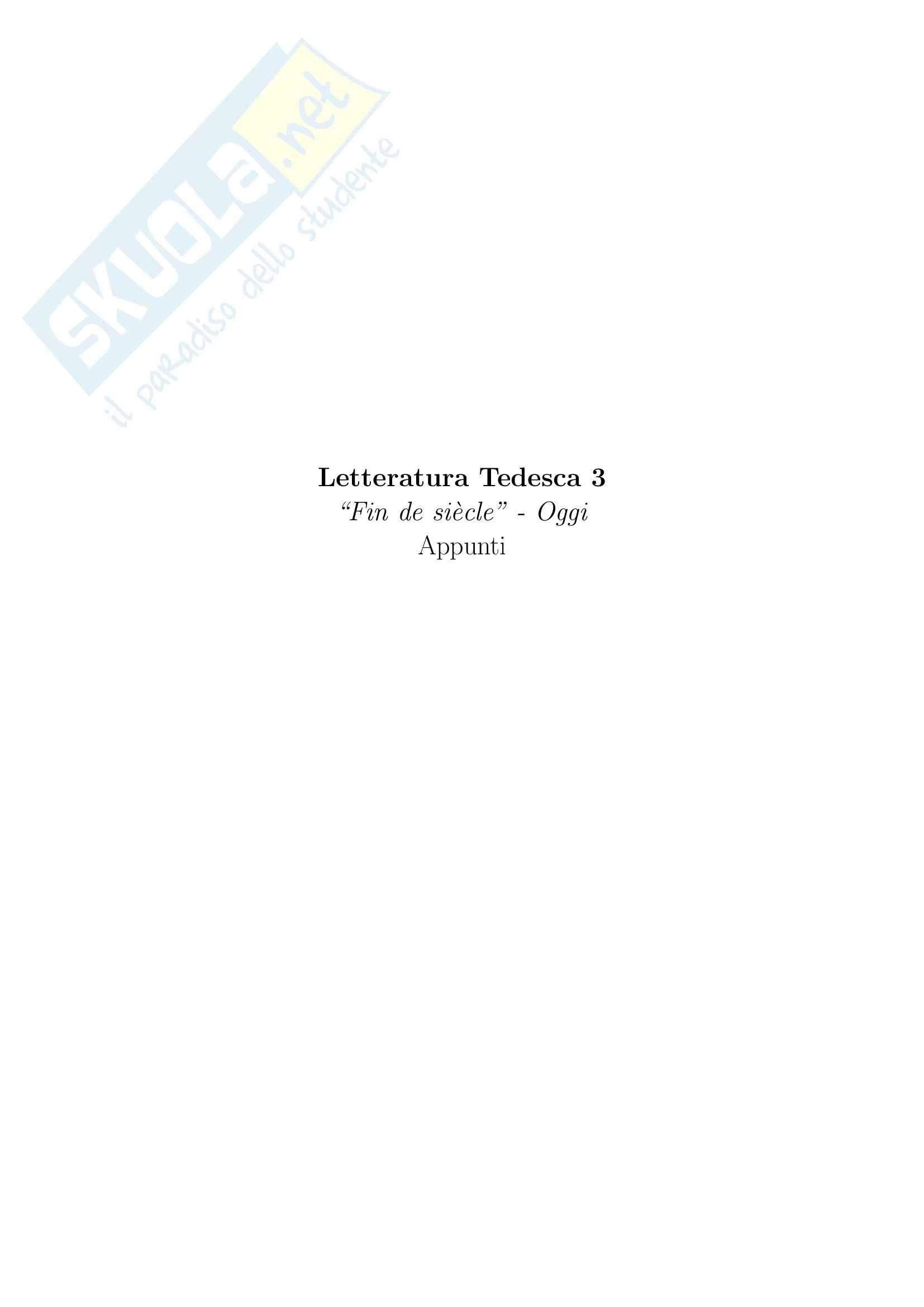 """Letteratura Tedesca 3 - Da """"fin de siècle"""" ad oggi"""