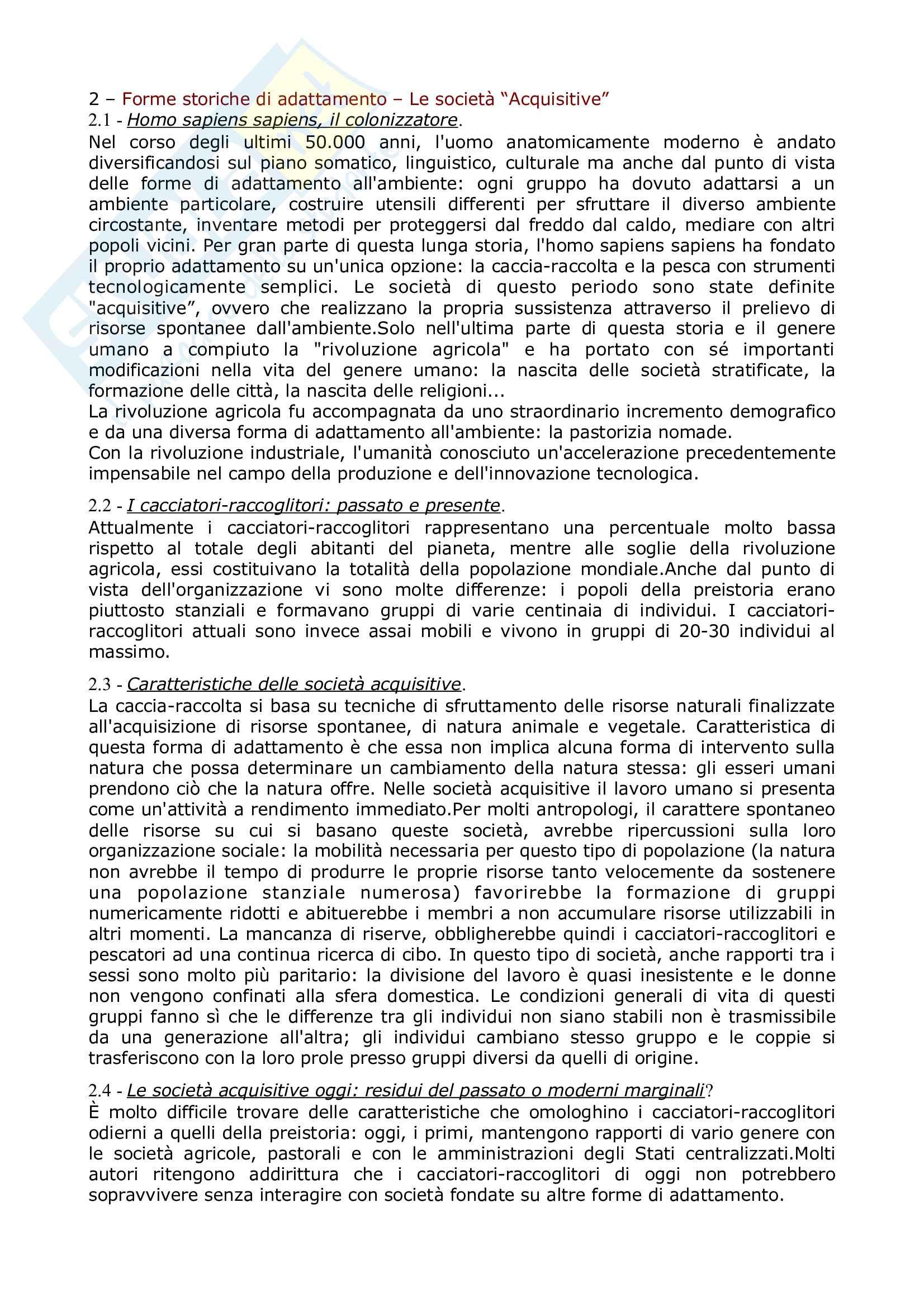 Riassunto esame Antropologia culturale, prof Natali, libro consigliato Elementi di antropologia Culturale, Fabietti Pag. 11