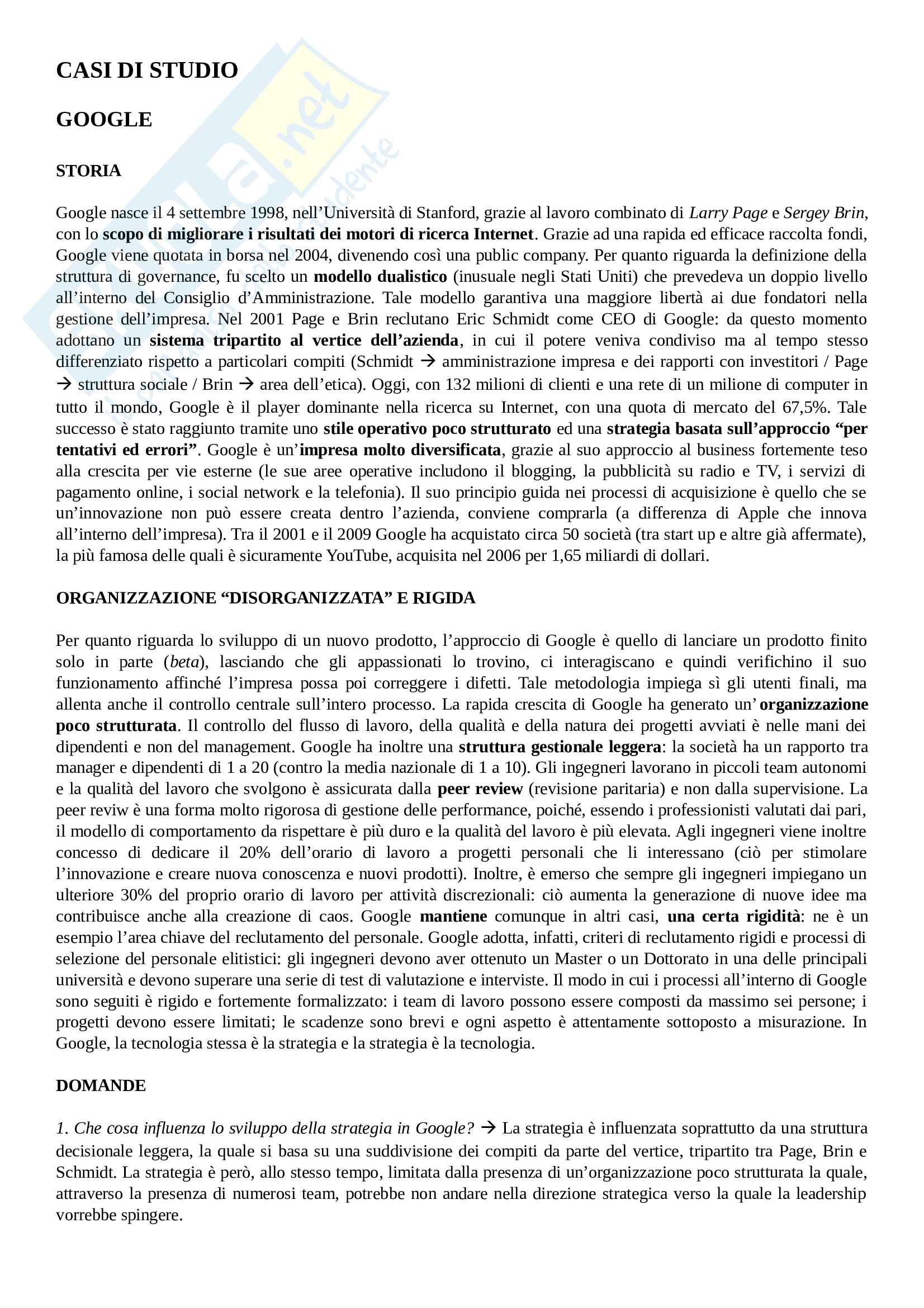Casi di studio - Strategia d'impresa Pag. 1