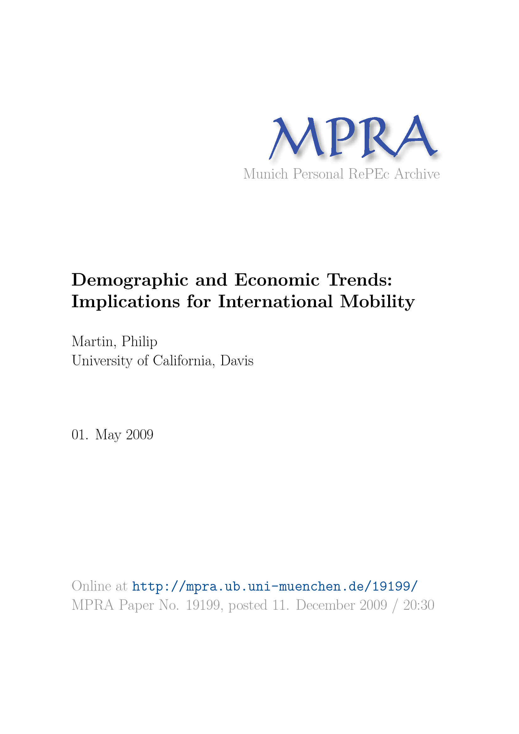 Demographic and Economic Trends - Martin