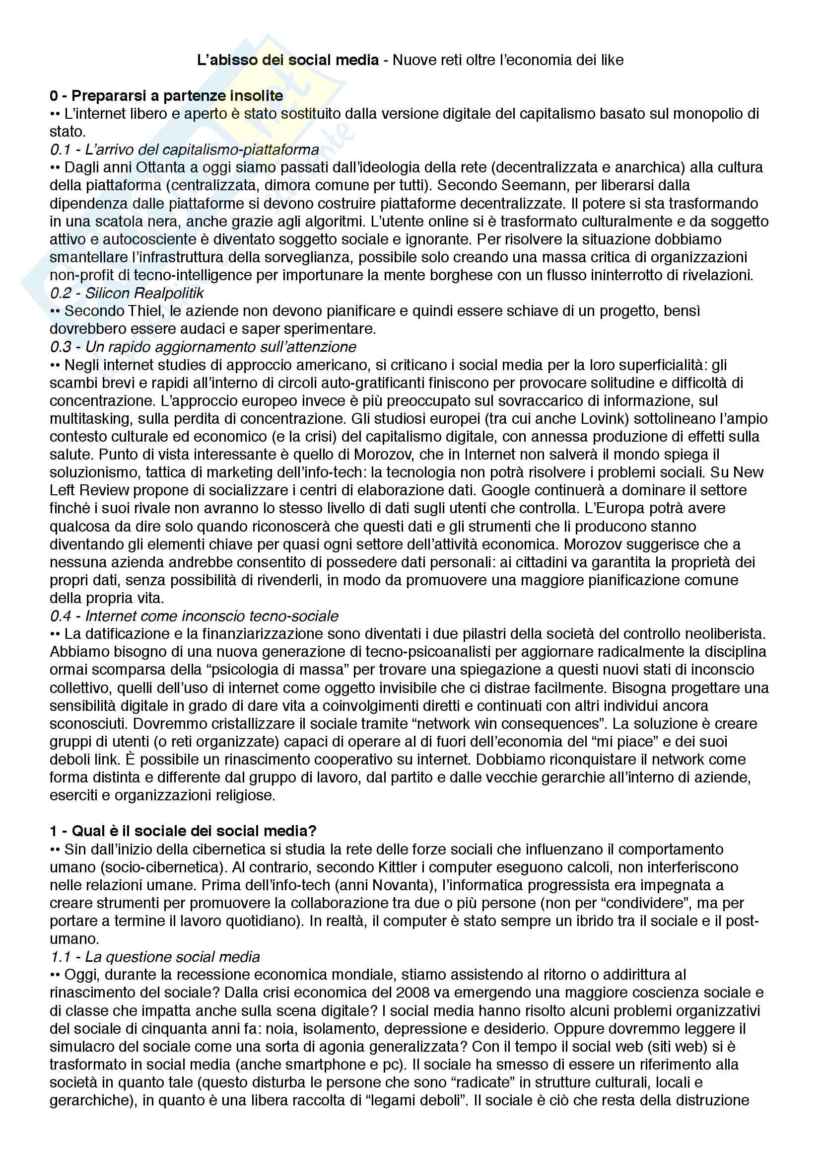 Riassunto esame Epistemologia dei nuovi media, prof.ssa Numerico, libro consigliato L'abisso dei social media - Nuove reti oltre l'economia dei like, Lovink