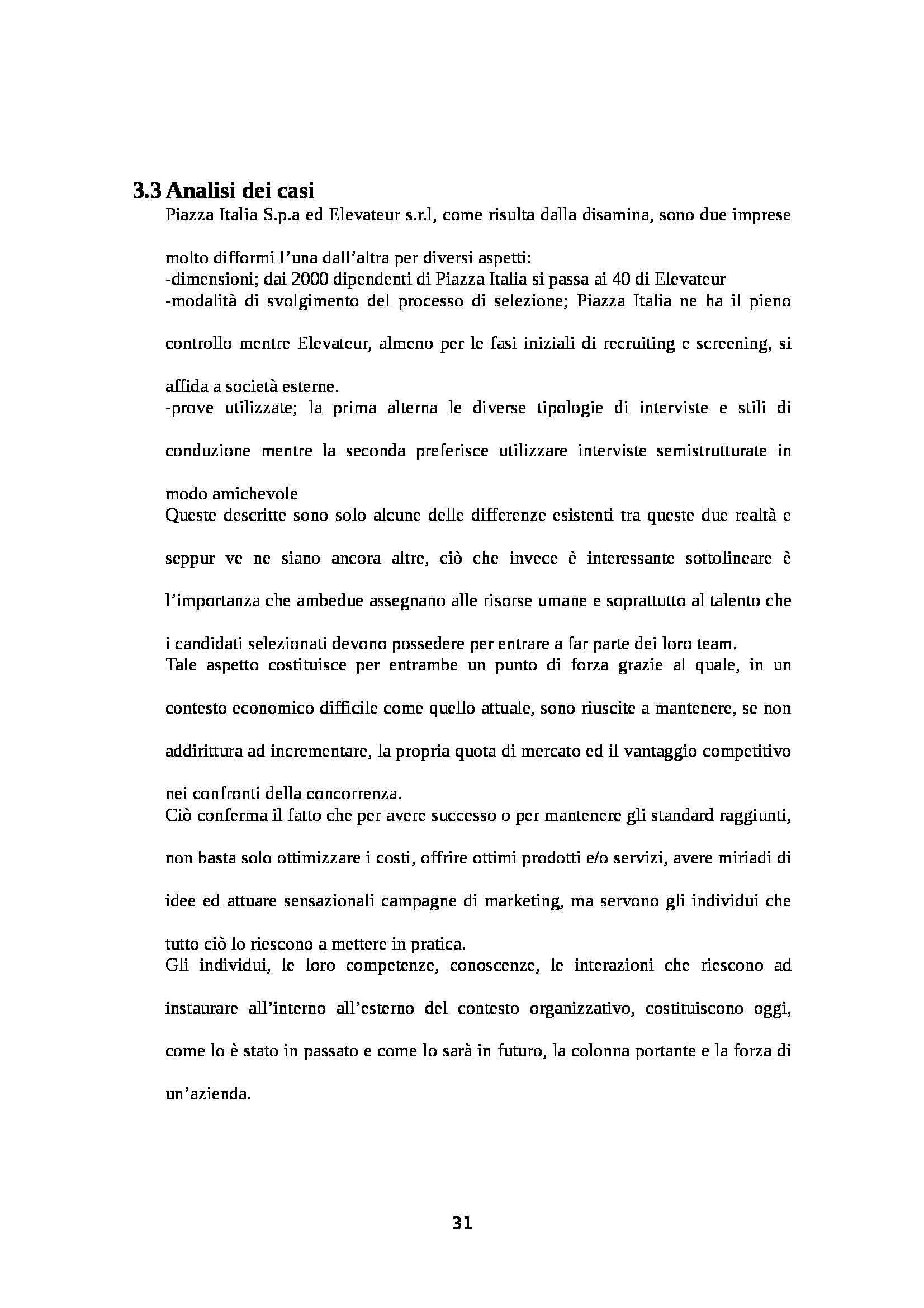 Tesi - I processi di selezione del personale Pag. 31