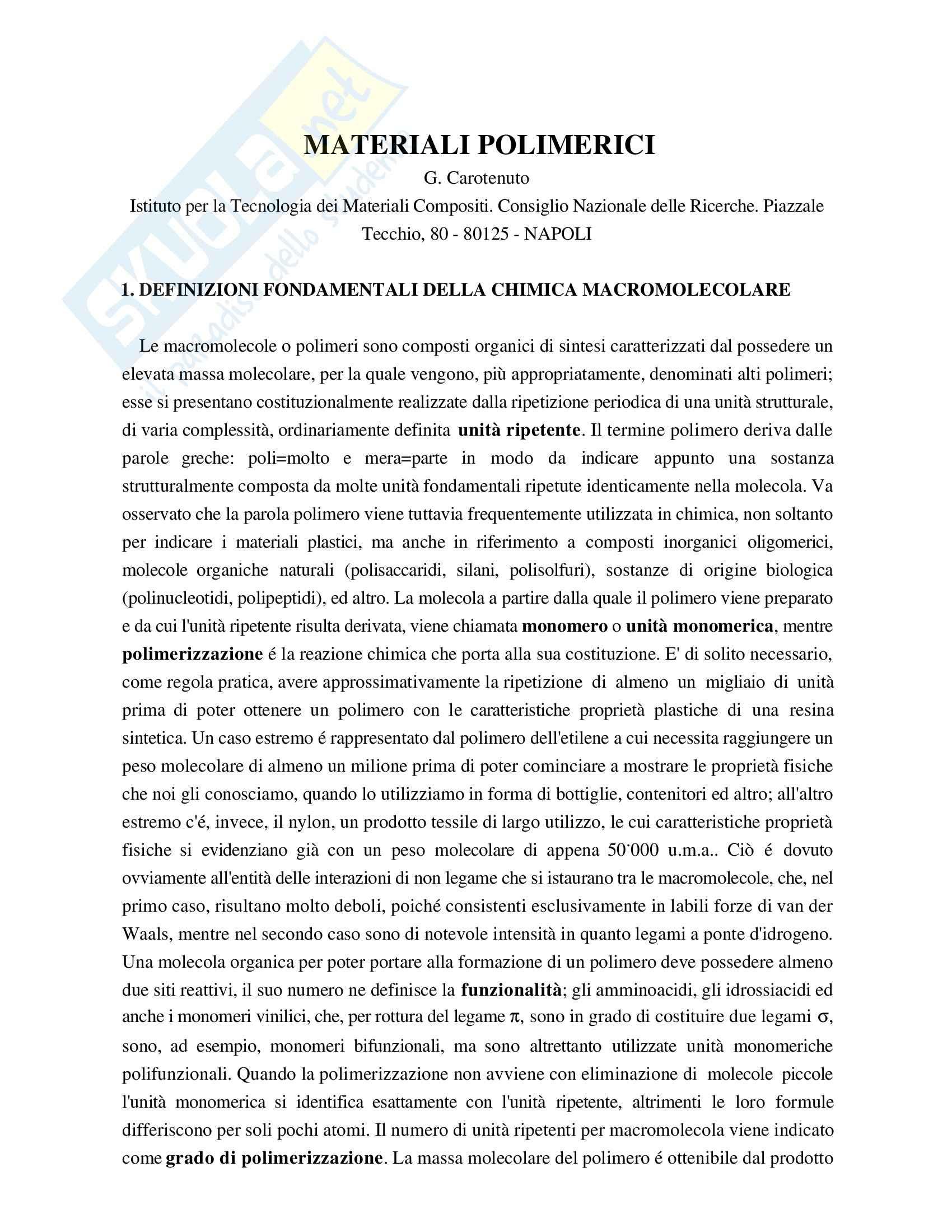 Chimica farmaceutica - materiali polimerici