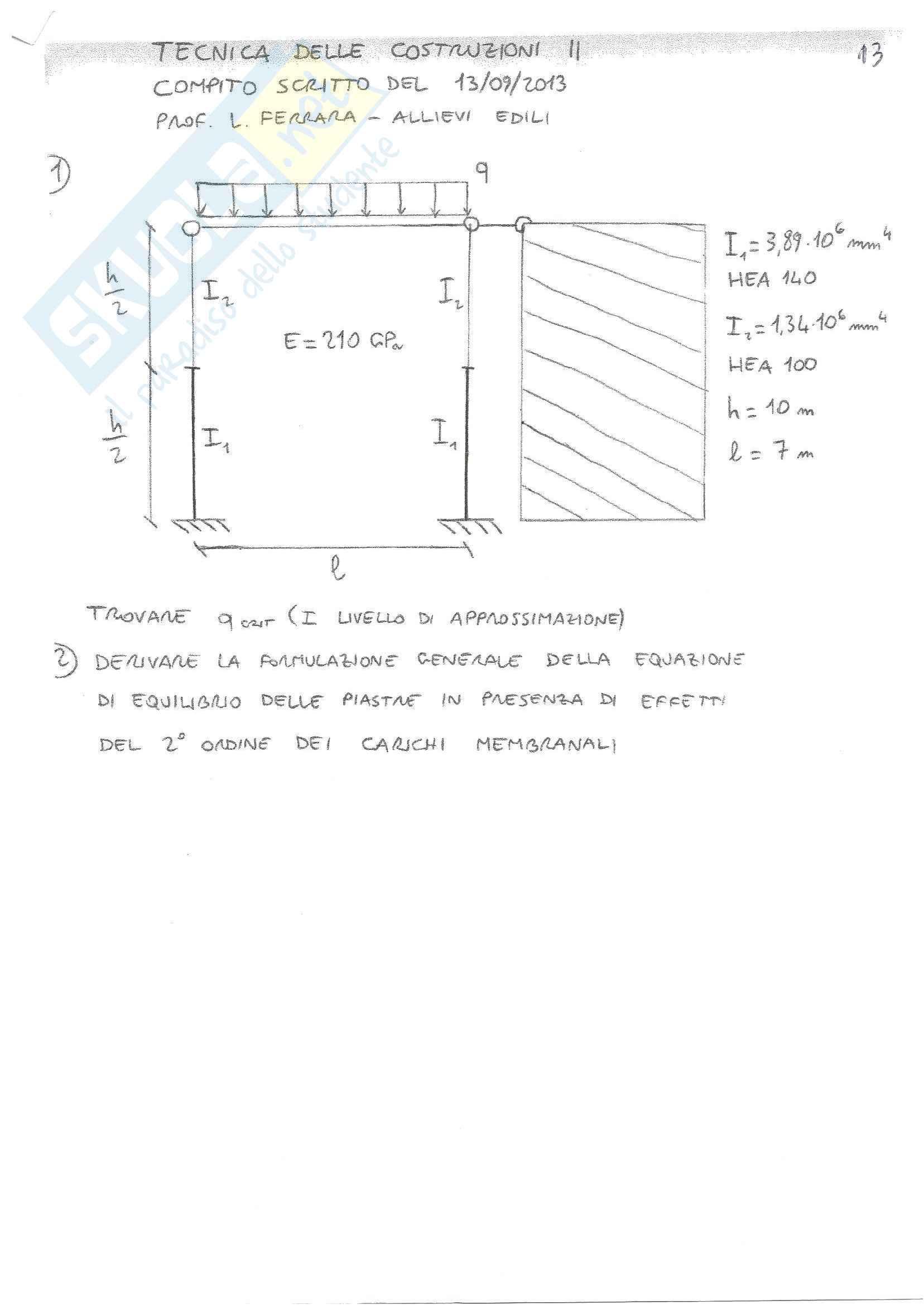 Tecnica delle Costruzioni II - Temi D'Esame B (Svolti)