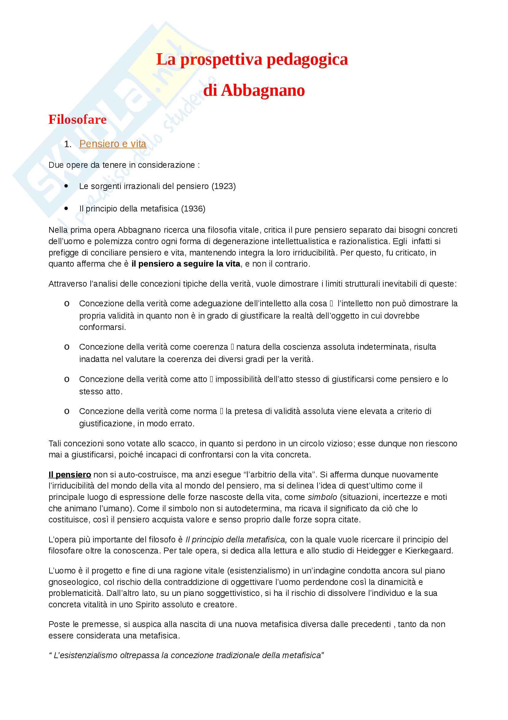 """Riassunto esame pedagogia contemporanea, prof. Primerano, libro consigliato """"La prospettiva pedagogica di Nicola Abbagnano"""""""