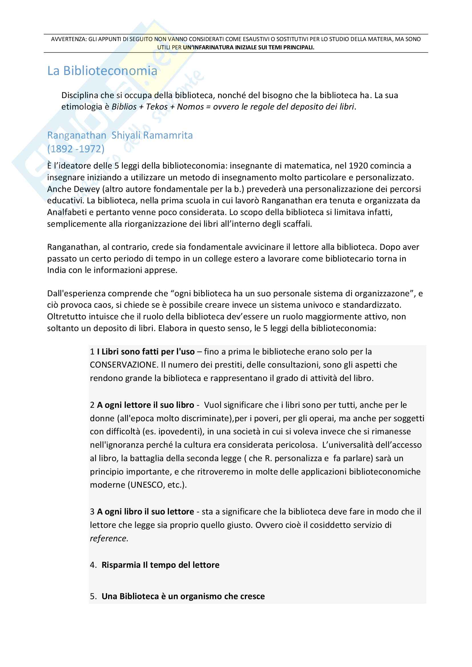 Riassunto esame Biblioteconomia, prof. Venuda, libro consigliato: Manuale di Biblioteconomia di Giorgio Montecchi e Fabio Venuda