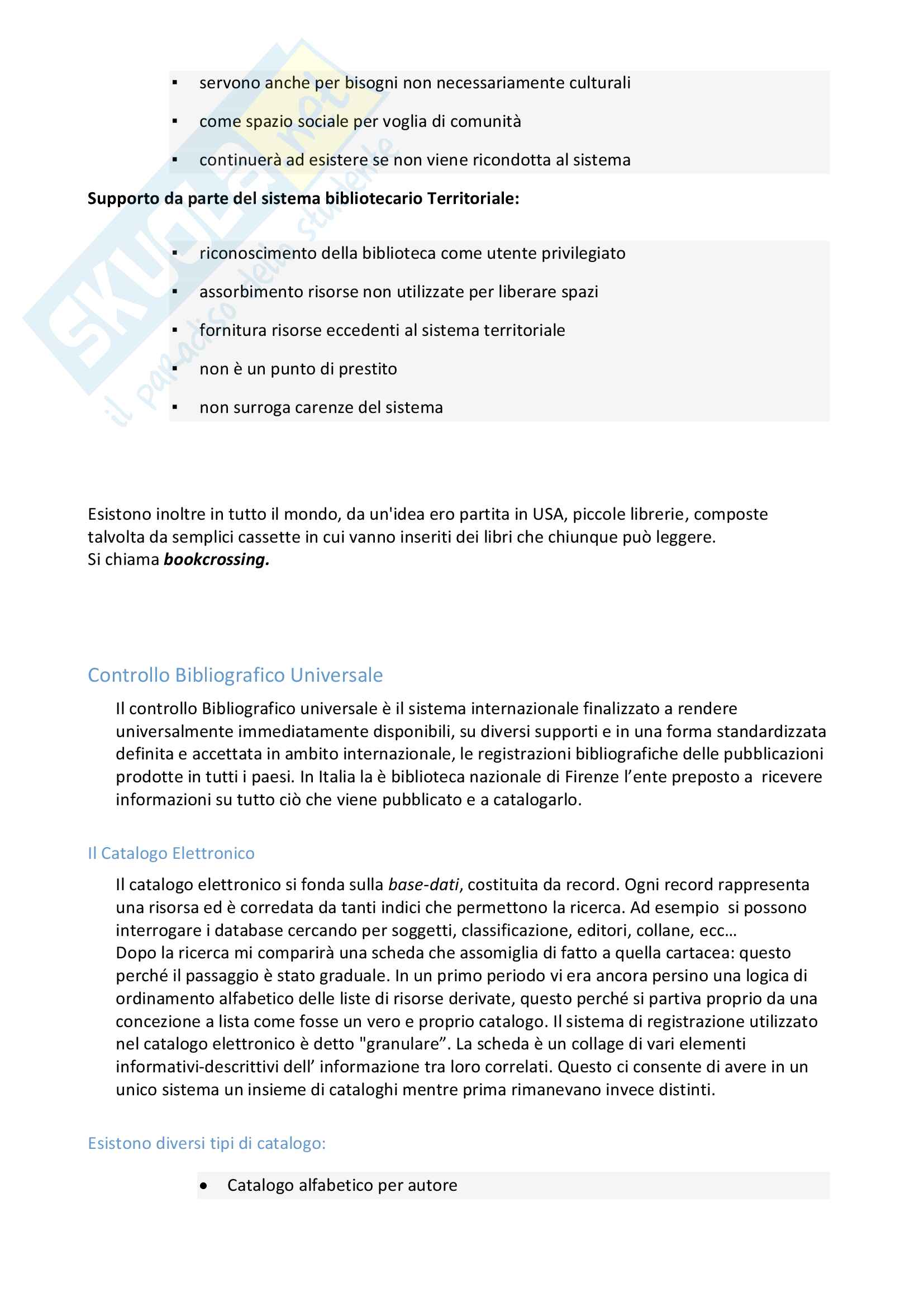 Riassunto esame Biblioteconomia, prof. Venuda, libro consigliato: Manuale di Biblioteconomia di Giorgio Montecchi e Fabio Venuda Pag. 11