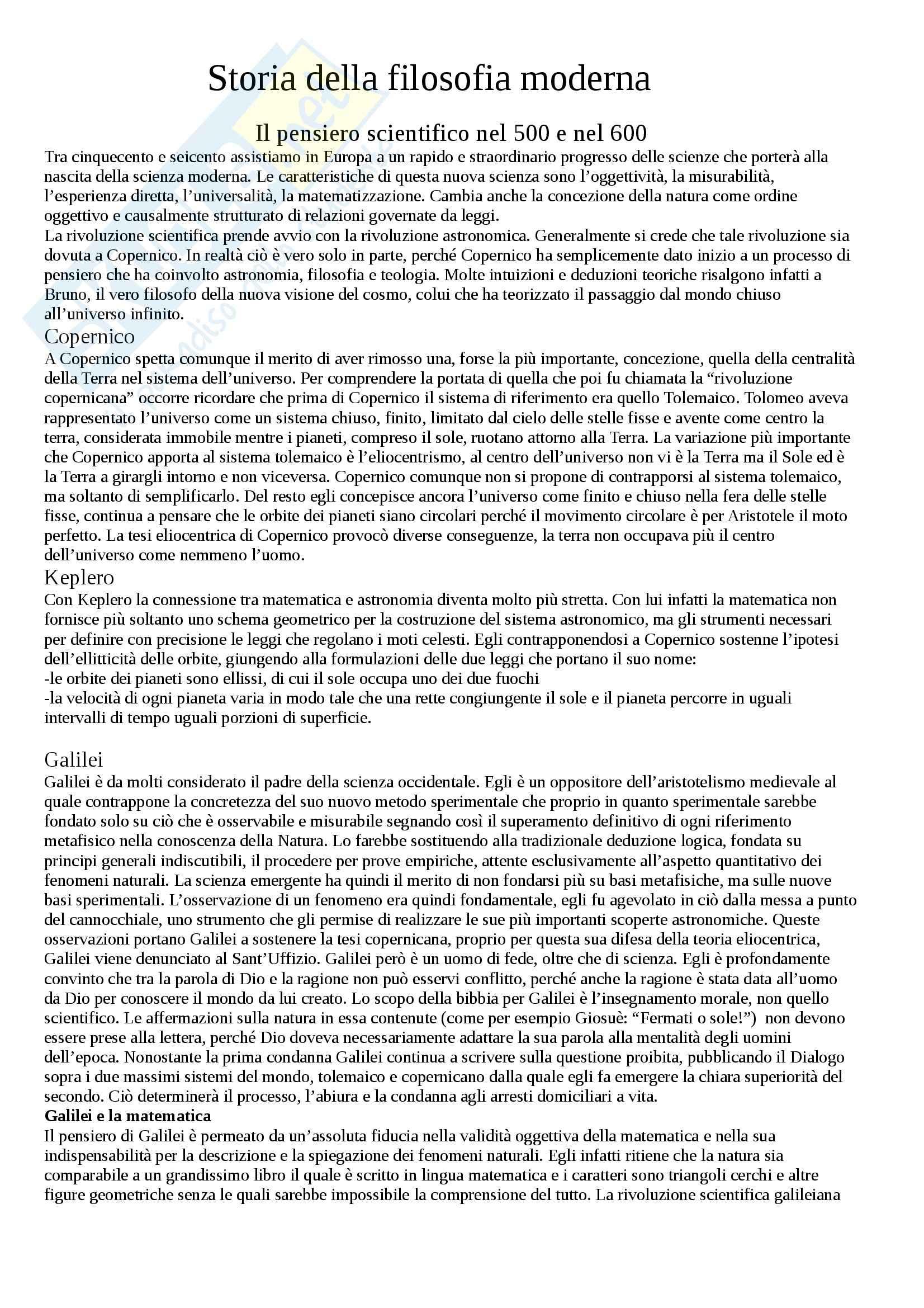 appunto G. Giordano Storia della filosofia moderna