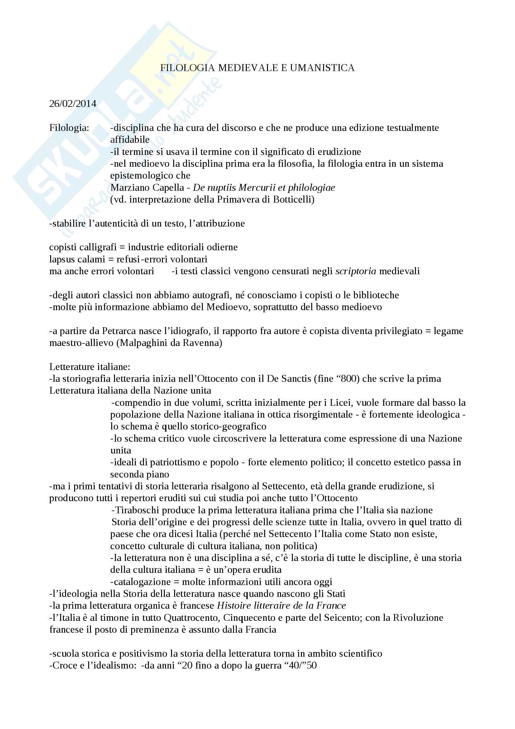 Riassunto esame Filologia, prof. Albanese, lezioni Filologia medievale e umanistica, Albanese
