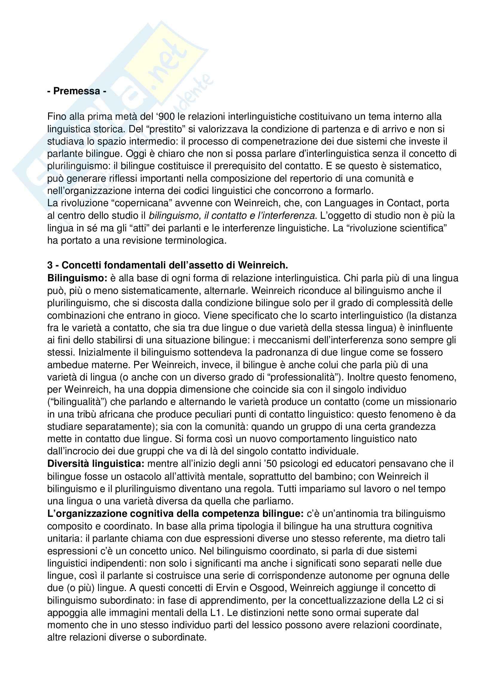 Riassunto esame Linguistica del contatto, prof. Schirru, libro consigliato Lingue in contatto, Weinreich