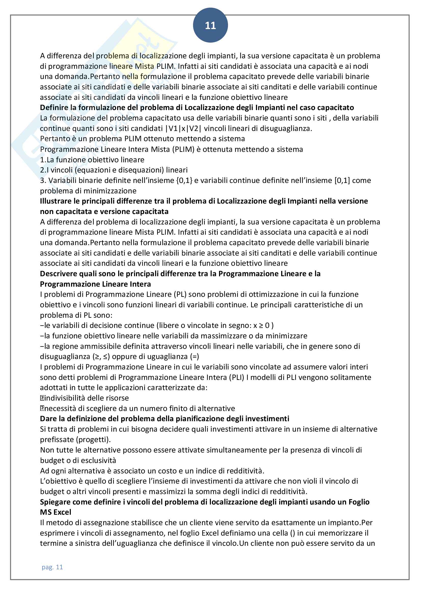 Domande aperte rivisitate e corrette di ricerca operativa 2 Pag. 11