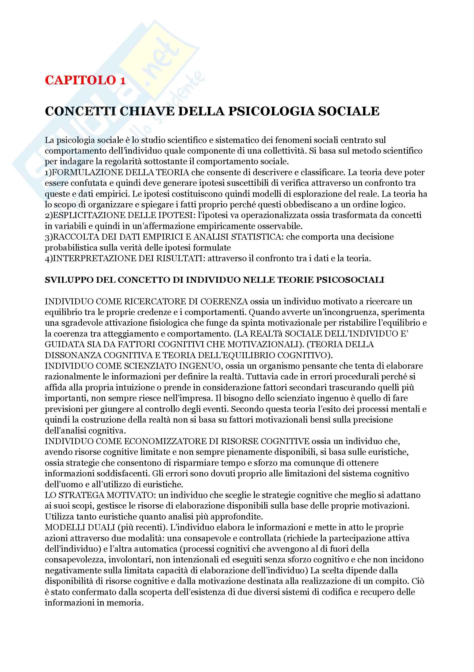 Riassunto esame Psicologia Sociale, prof.Scopelliti, libro consigliato ''Introduzione alla psicologia sociale'', Bocchiaro,  Abbate, Boca