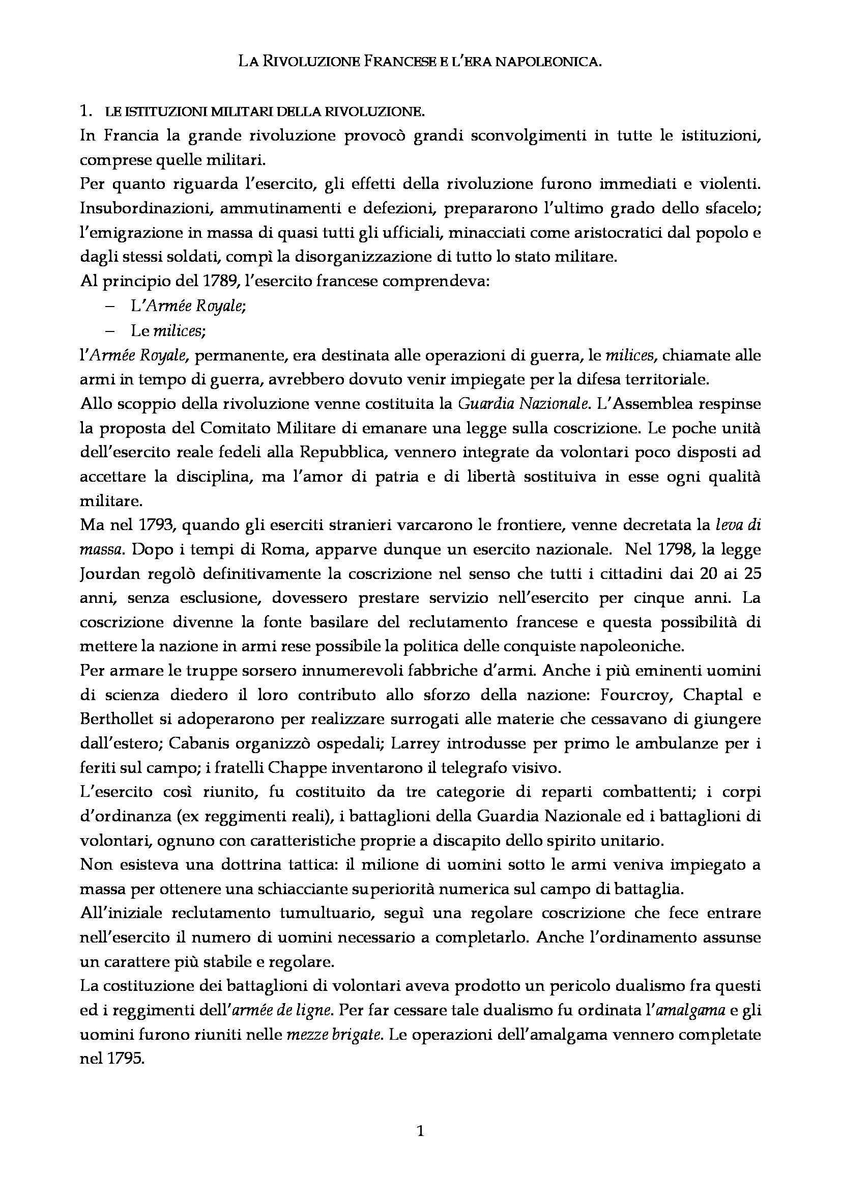 Riassunto esame Storia delle istituzioni militari, prof. Cellamare, libro consigliato Le Istituzioni Militari di Cecchini