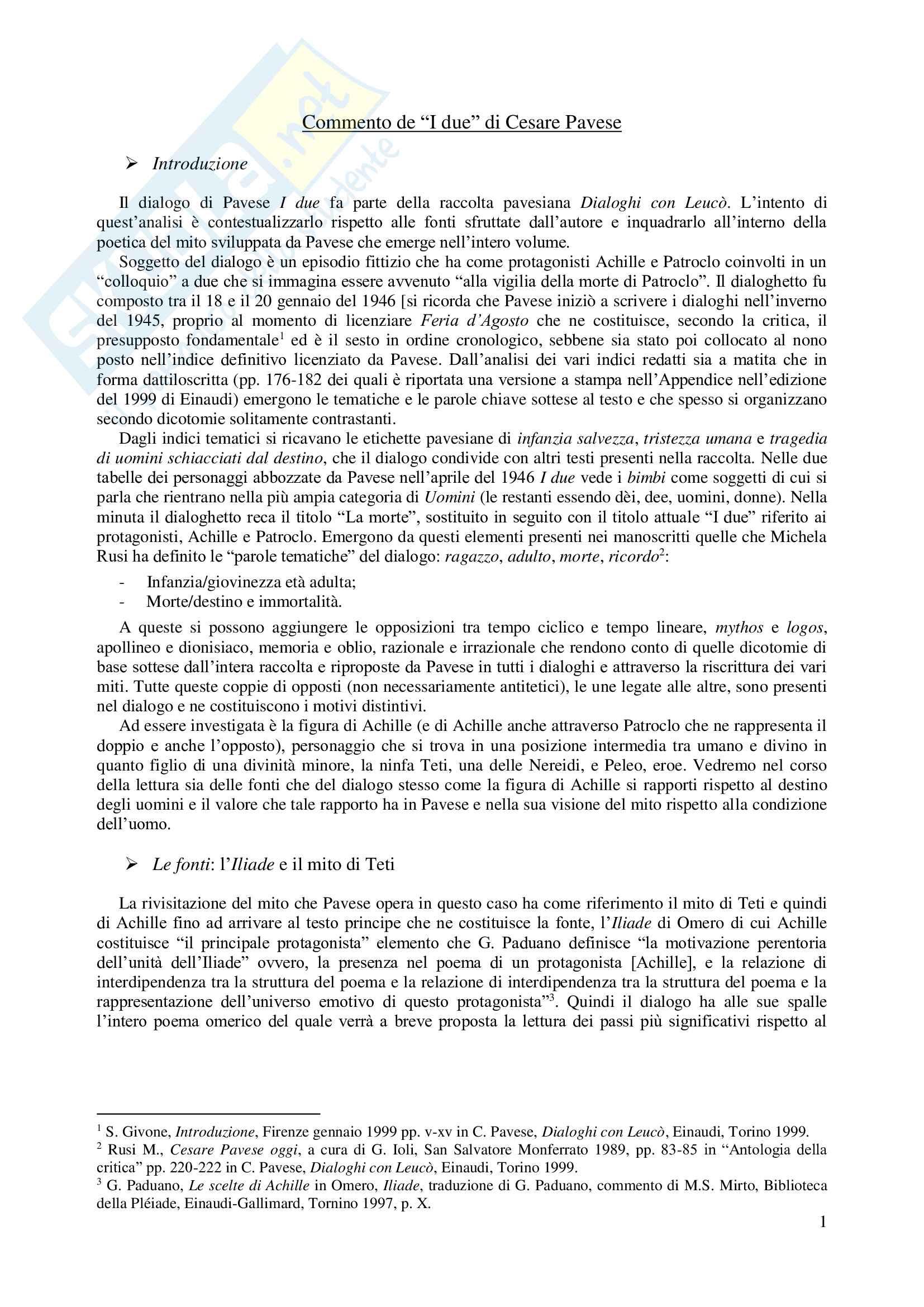 """Commento su """"I due"""" di Cesare Pavese tratto dai """"Dialoghi con Leucò"""""""