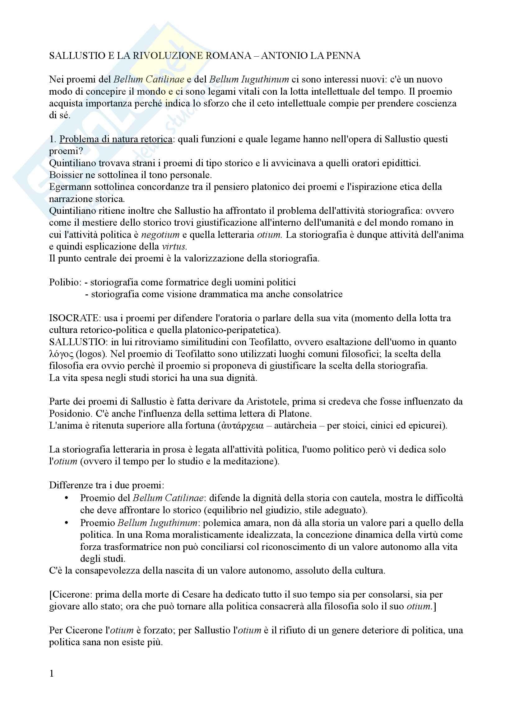 Riassunto esame di letteratura latina, prof De Nonno, libro consigliato Sallustio e la rivoluzione romana, La Penna