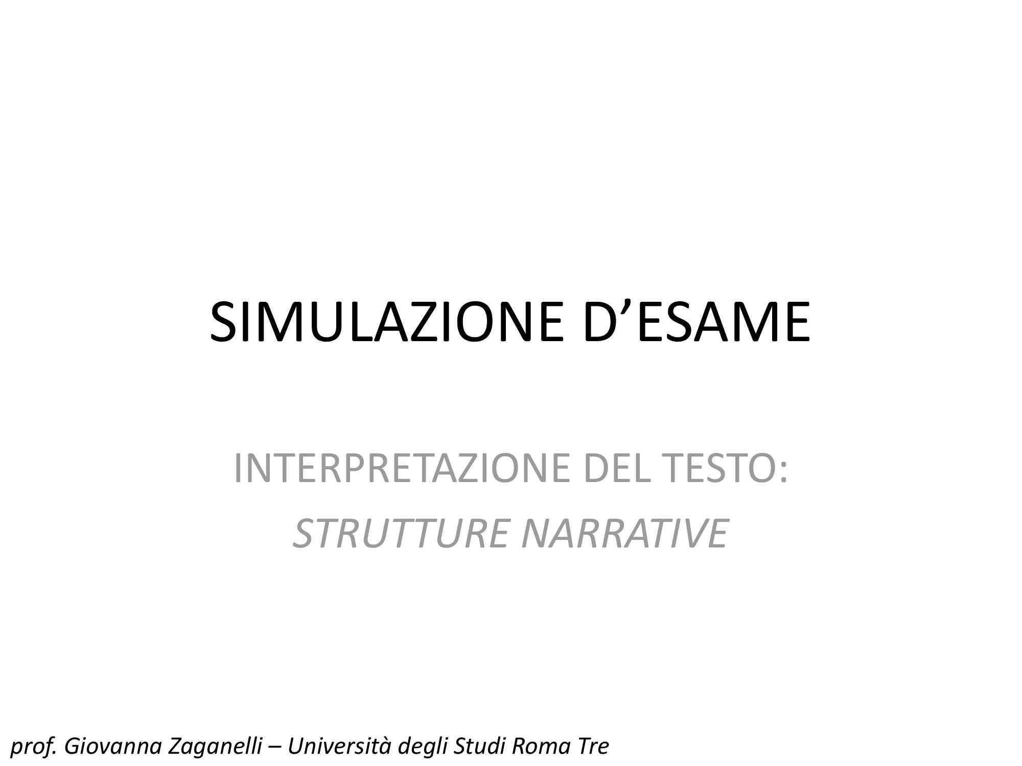 Interpretazione del testo: strutture narrative