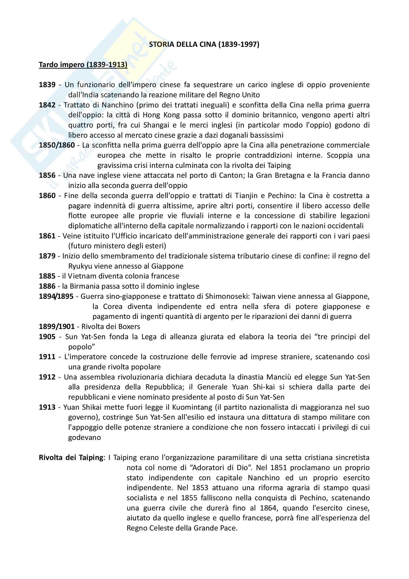 Cronologia storia della Cina: 1839/1997