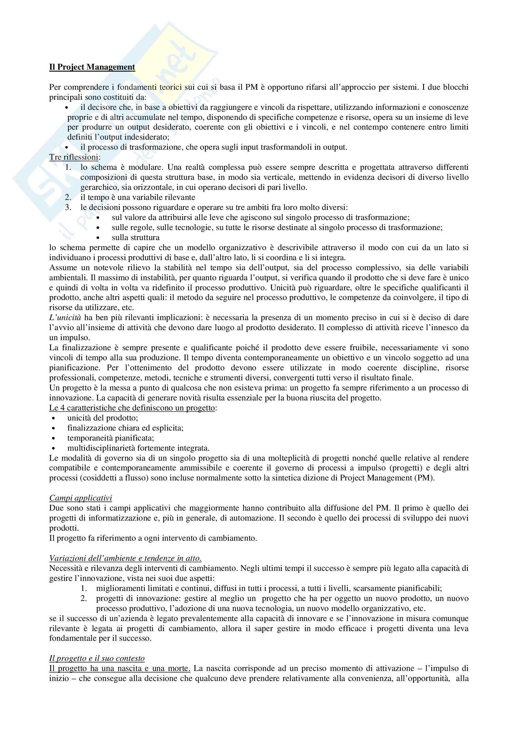 Economia ed organizzazione aziendale - il Project Managemet