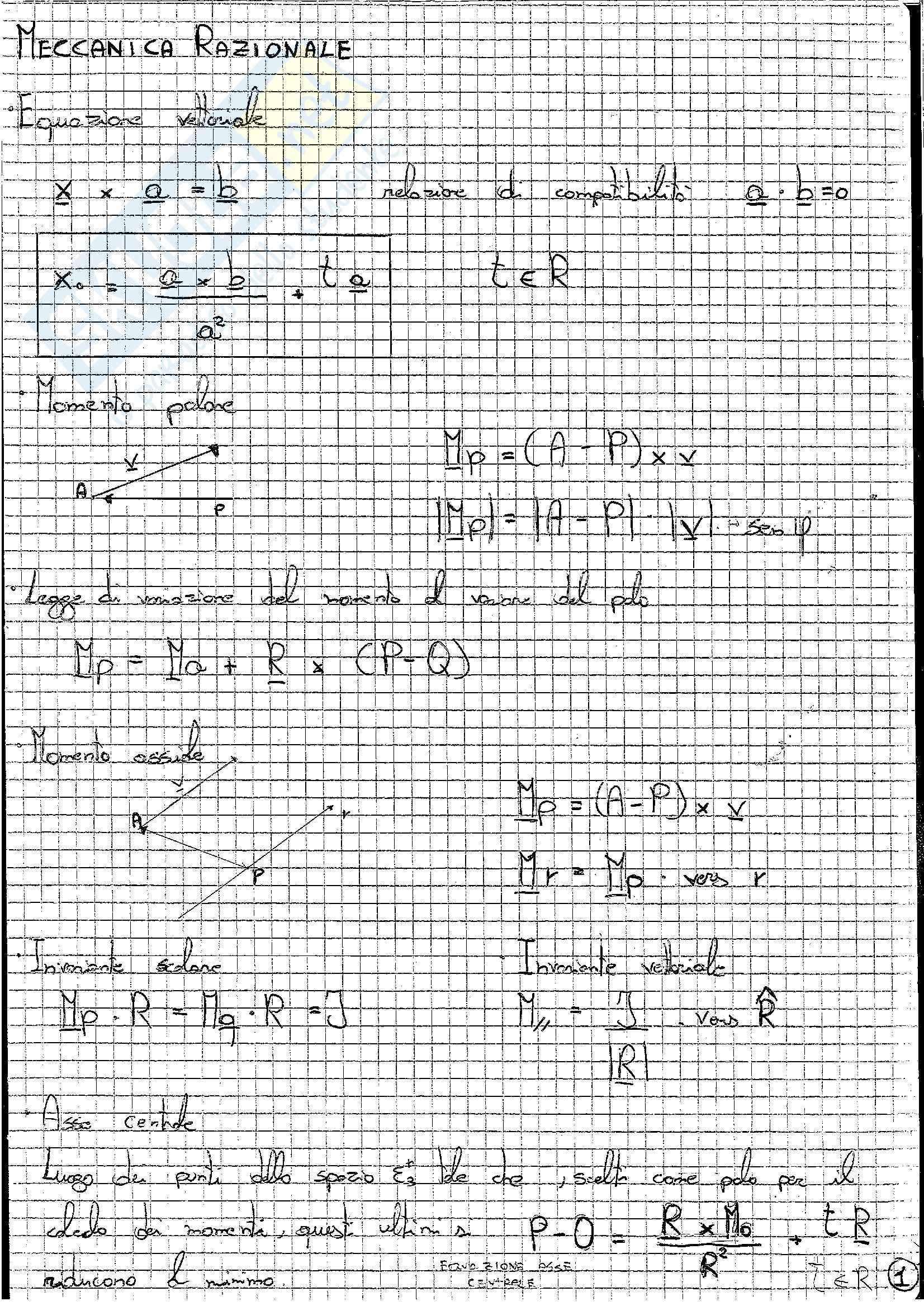 Formulario, Meccanica razionale