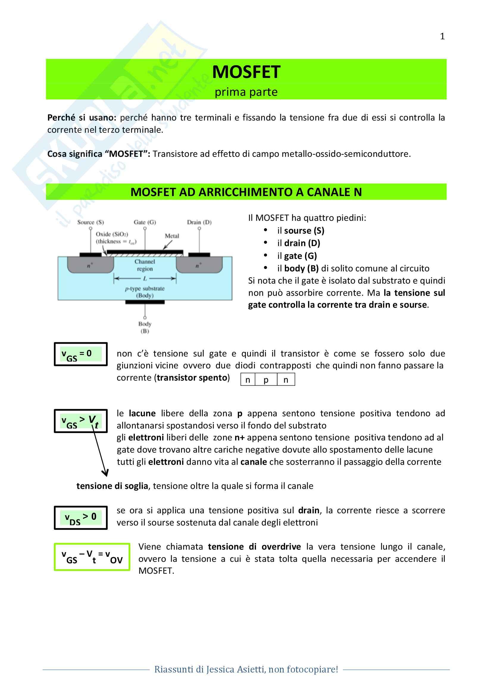Elettronica 1 - MOSFET, elettronica digitale, memorie