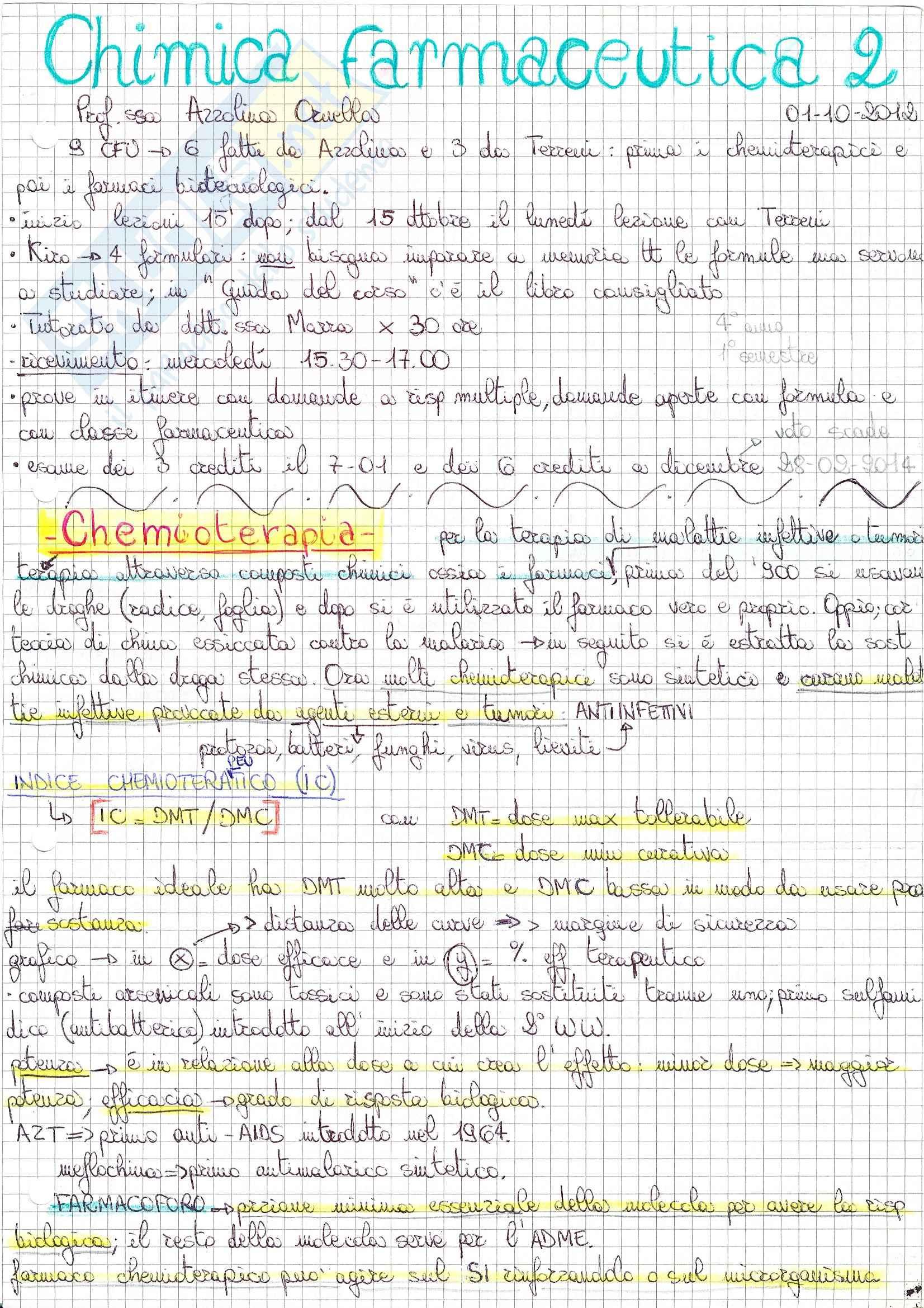Lezioni: Appunti di Chimica farmaceutica 2