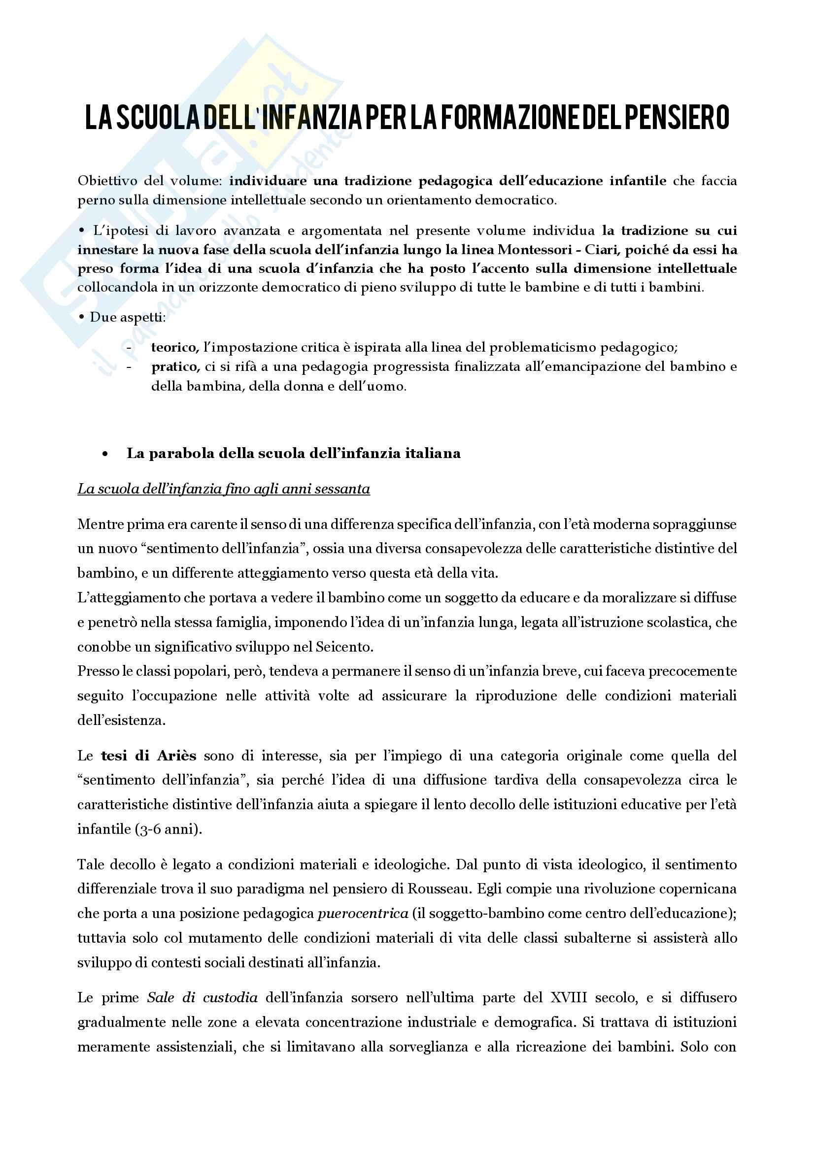 Riassunto Esame di Pedagogia Generale, prof. Michelini, libro consigliato Prospettive per la scuola d'infanzia, Baldicci Pag. 2